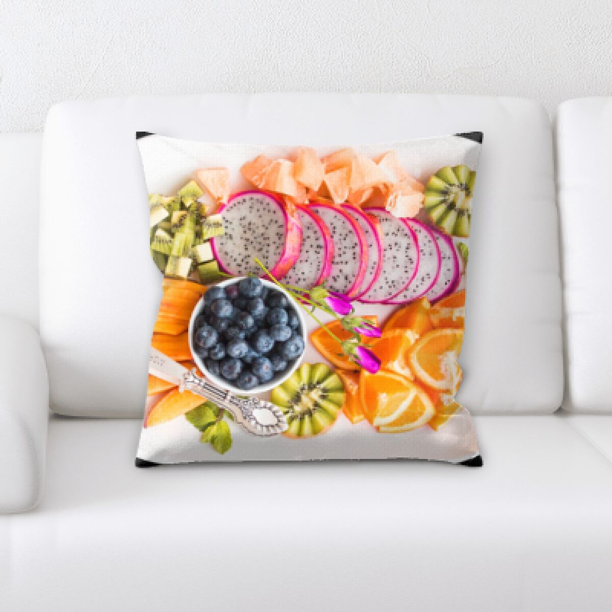 Bigler Mixed Fruits on a Plate Throw Pillow