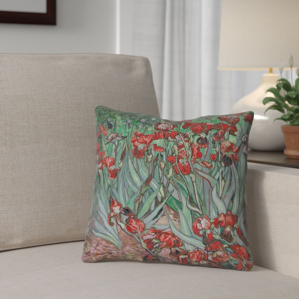 Morley Irises Double Sided Print Pillow Cover Size: 16