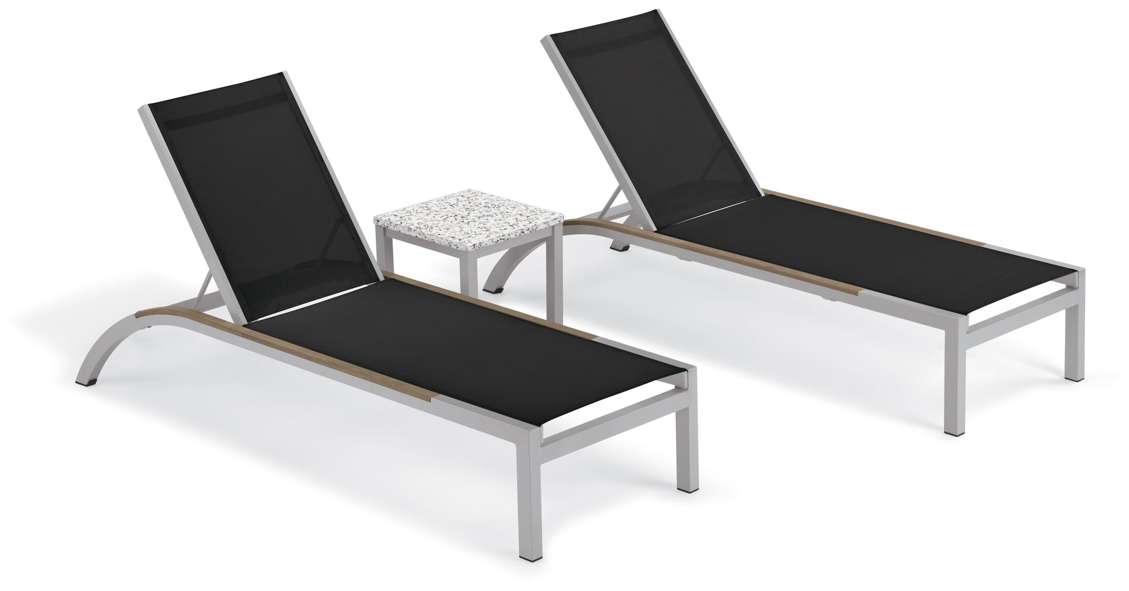 Saint-Pierre 3 Piece Reclining Chaise Lounge with Table Color: Black