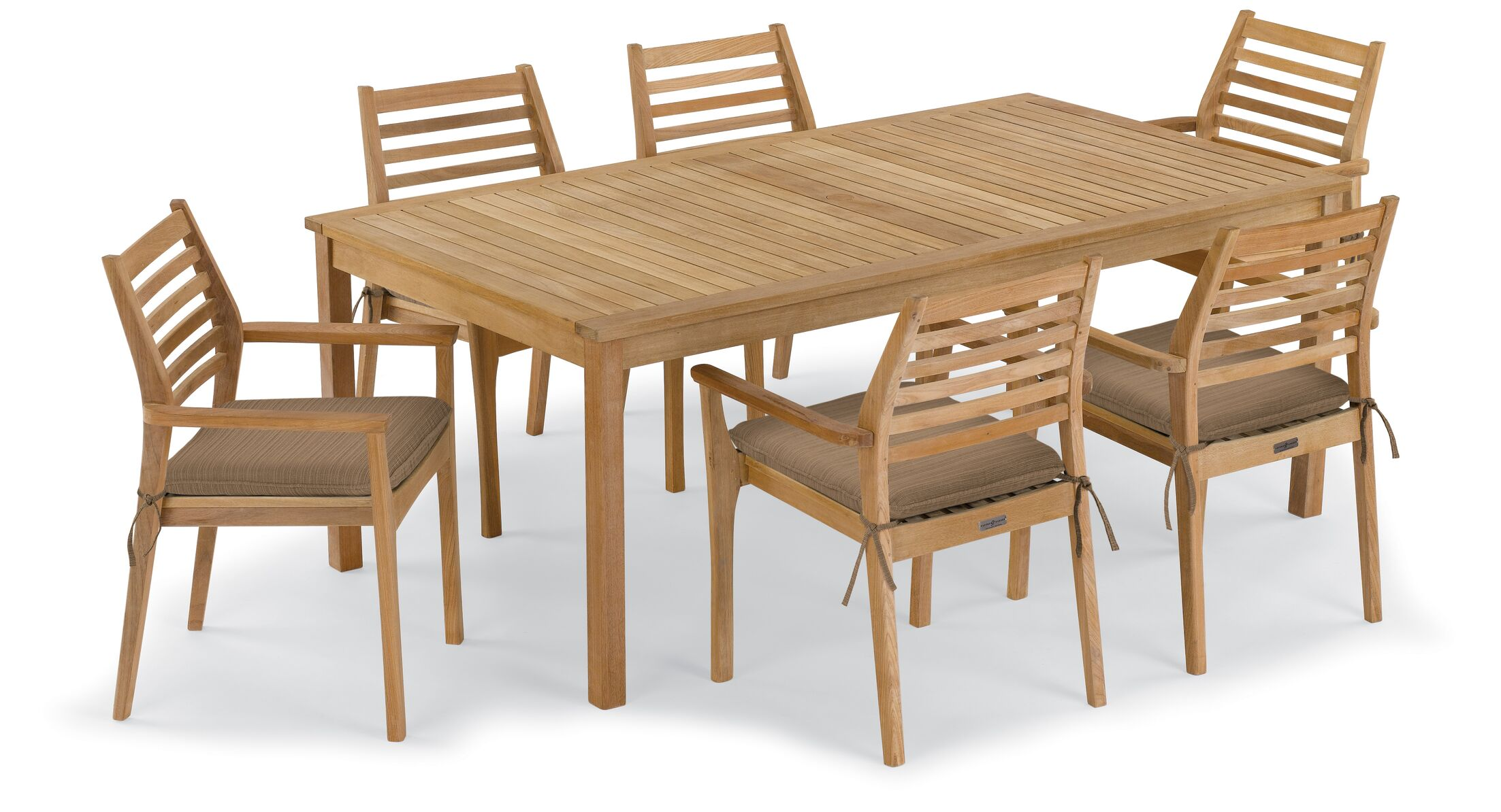 Crossland 7 Piece Dining Set with Cushions Cushion Color: Dupione Walnut