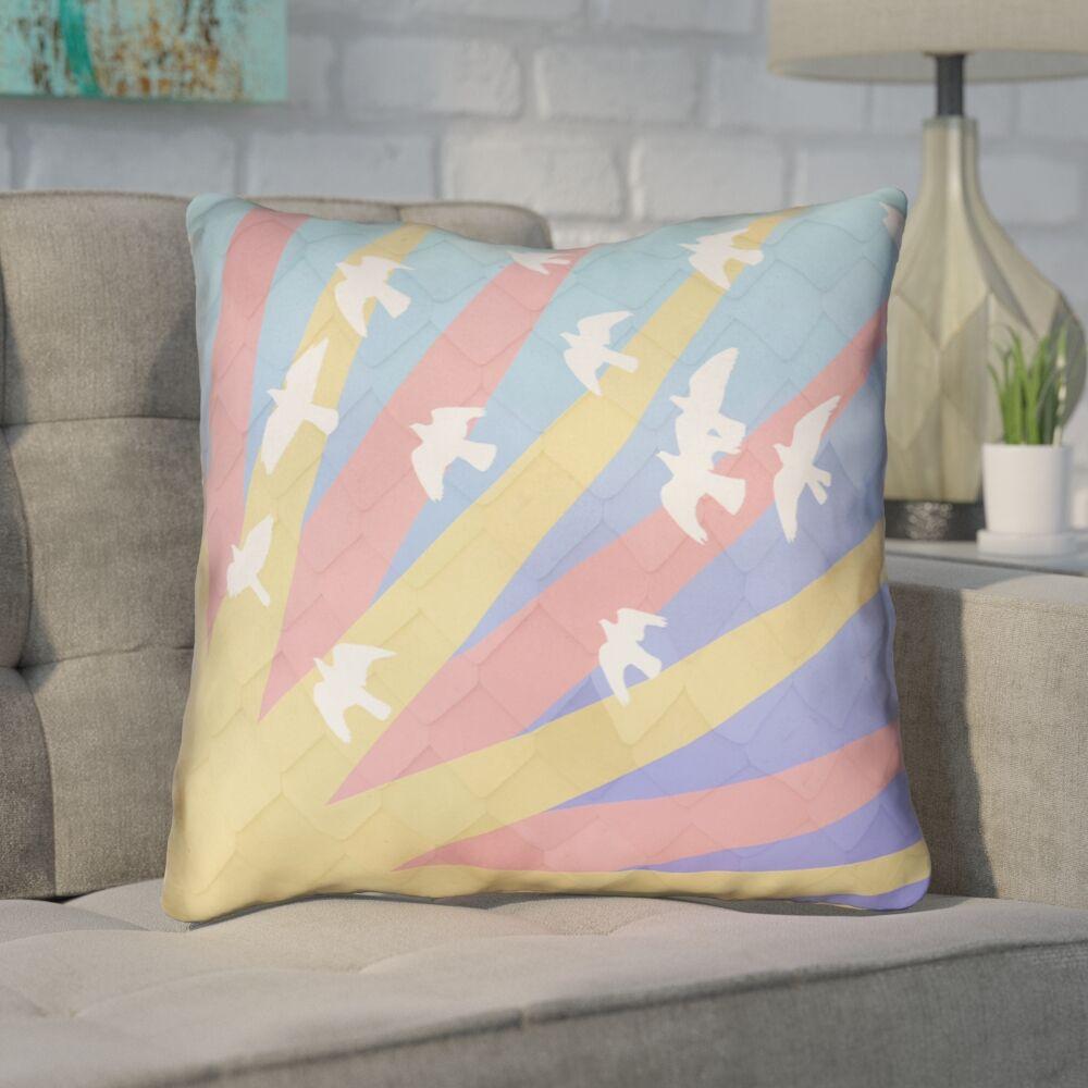 Enciso Birds and Sun Square Throw Pillow Size: 14