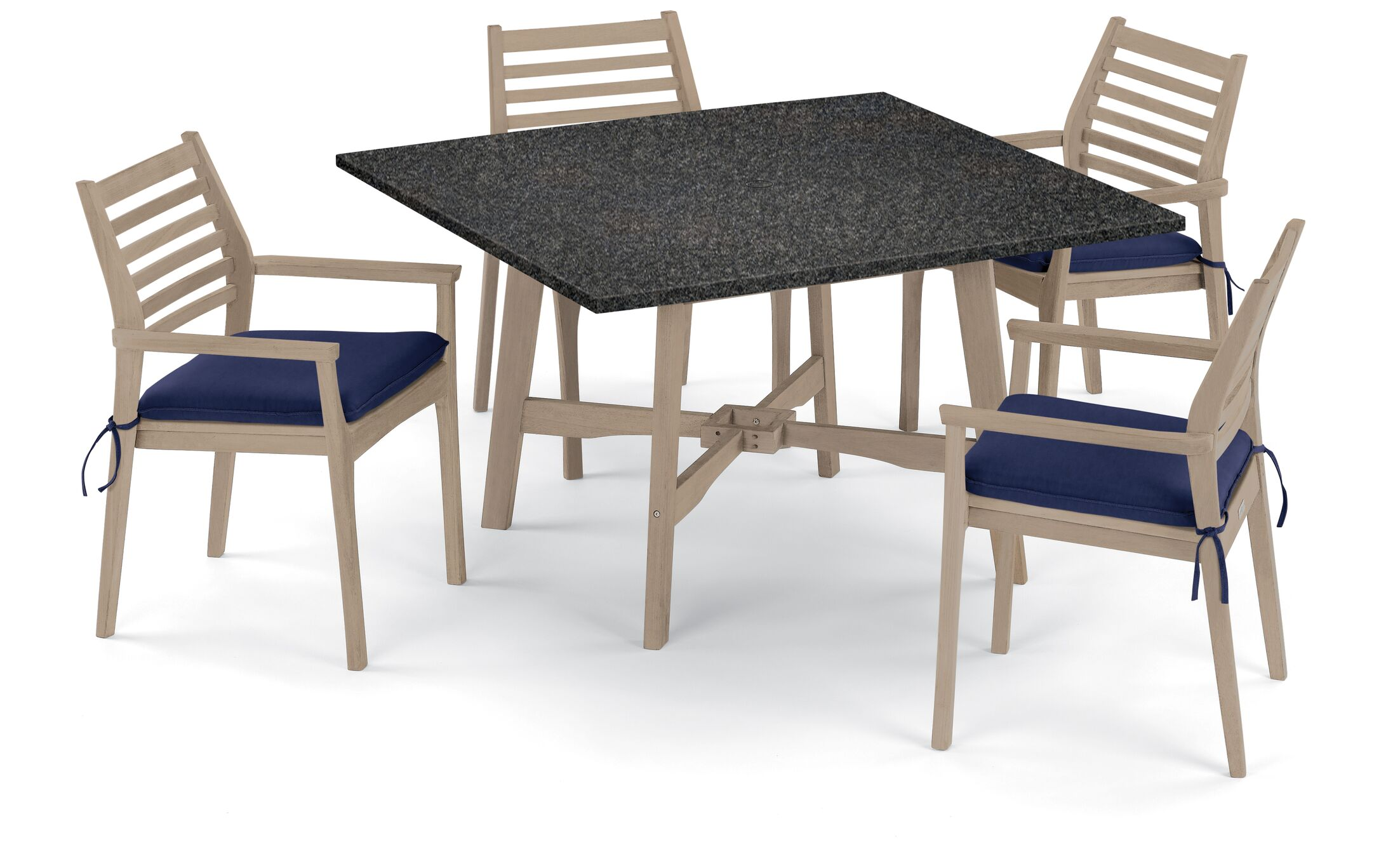 Eichhorn 5 Piece Dining Set with Cushions Cushion Color: Navy Blue, Table Top Color: Charcoal