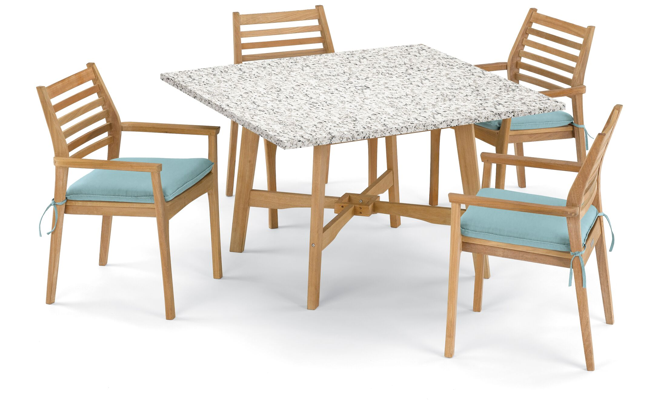 Eichhorn 5 Piece Dining Set with Cushions Cushion Color: Canvas Mineral Blue, Table Top Color: Ash