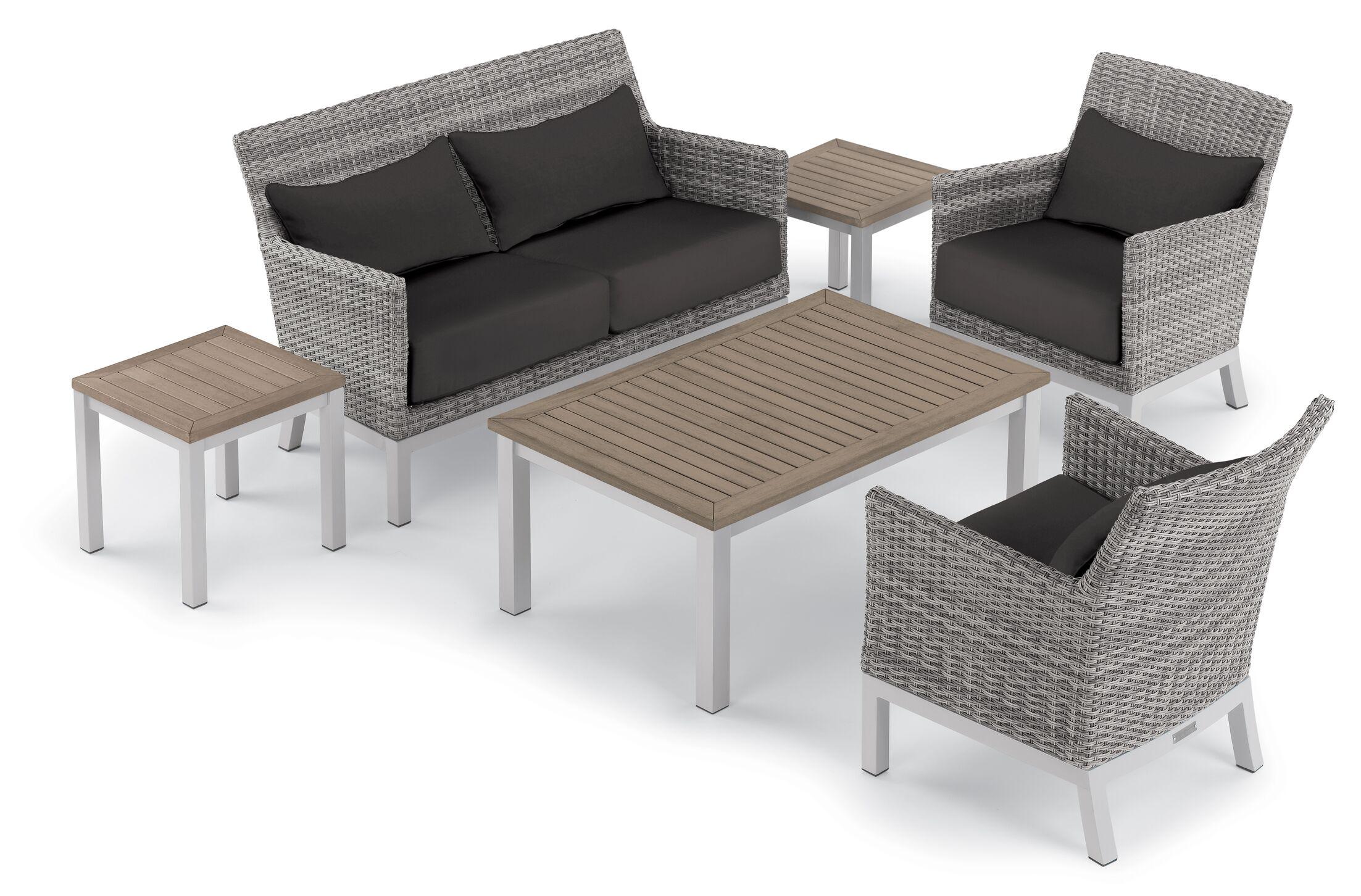 Saint-Pierre 6 Piece Sofa Set with Cushions Cushion Color: Jet Black