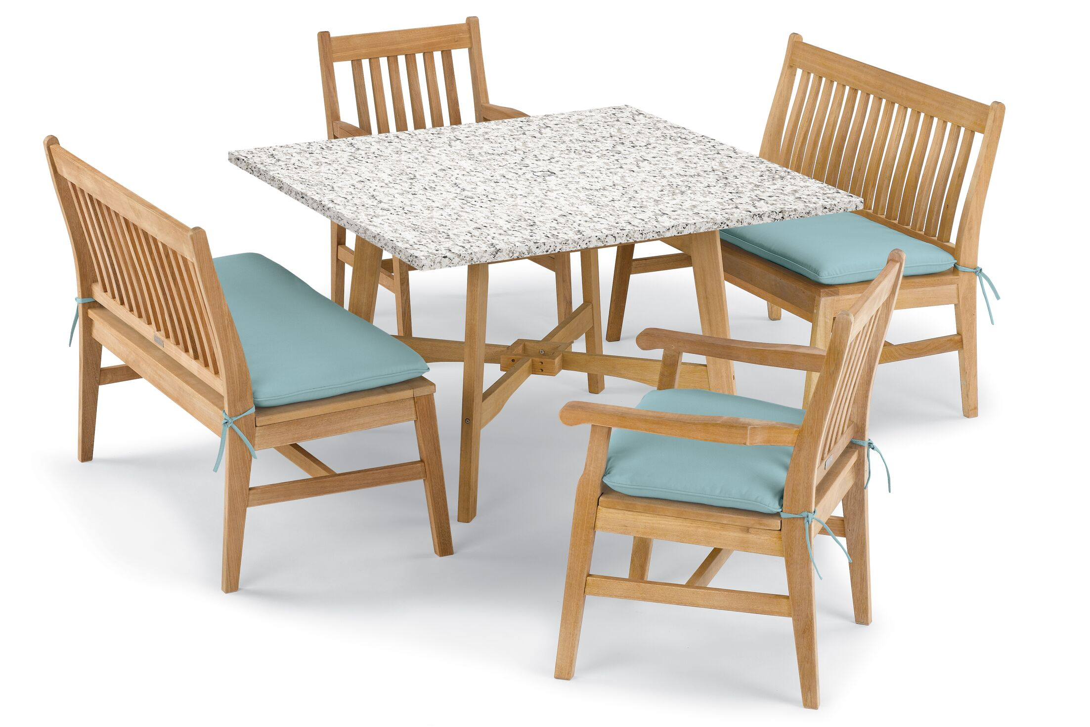 Laney 5 Piece Dining Set with Cushions Cushion Color: Canvas Mineral Blue , Table Top Color: Ash, Color: Natural