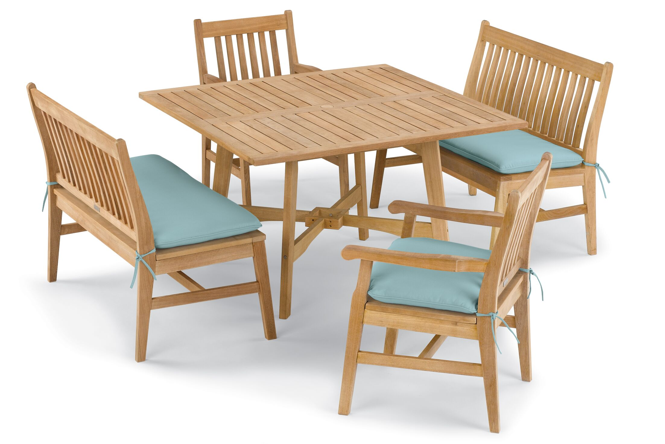 Laney 5 Piece Dining Set with Cushions Cushion Color: Canvas Mineral Blue , Color: Natural