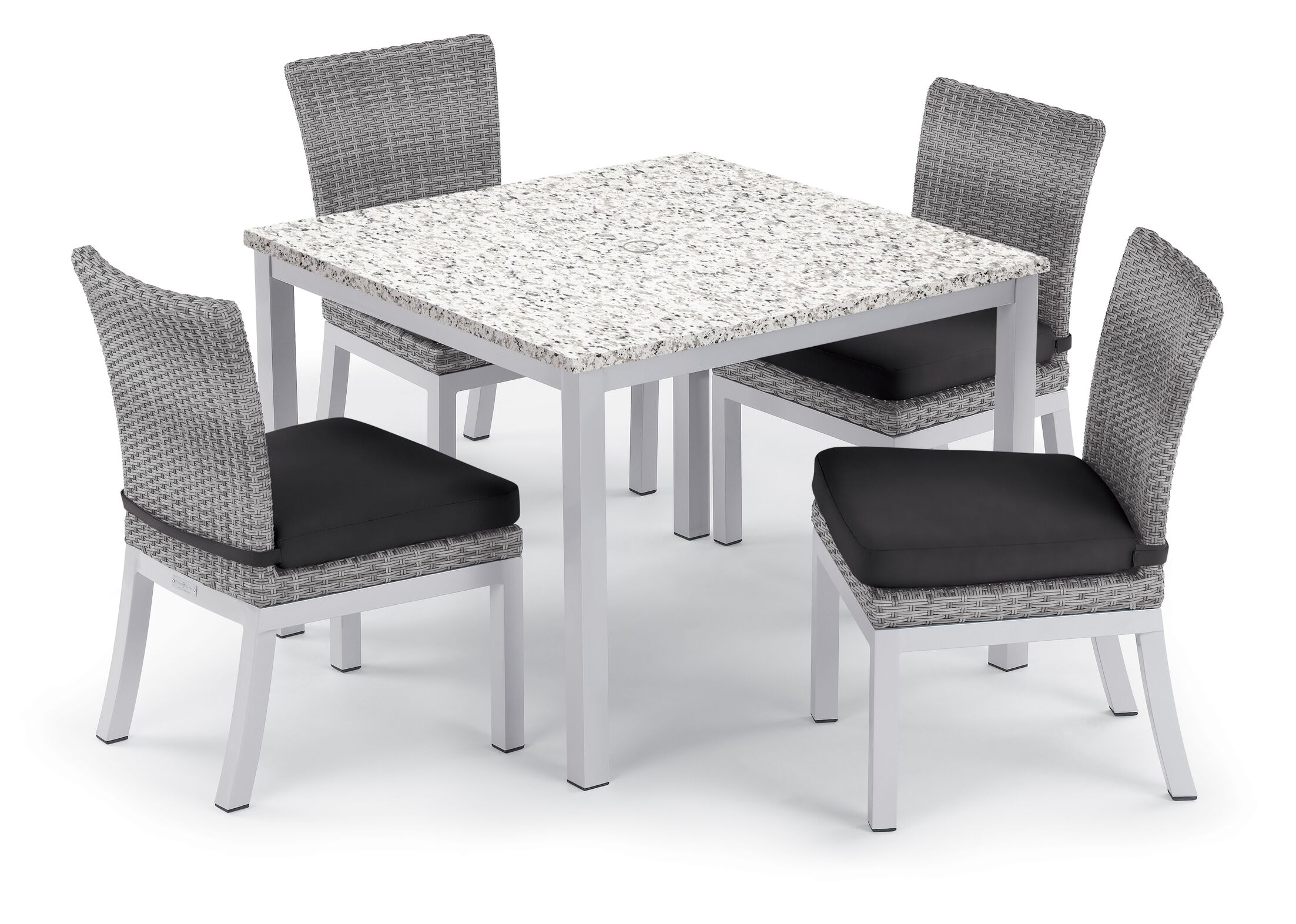 Saleh 5 Piece Dining Set with Cushion Cushion Color: Jet Black, Table Top Color: Ash