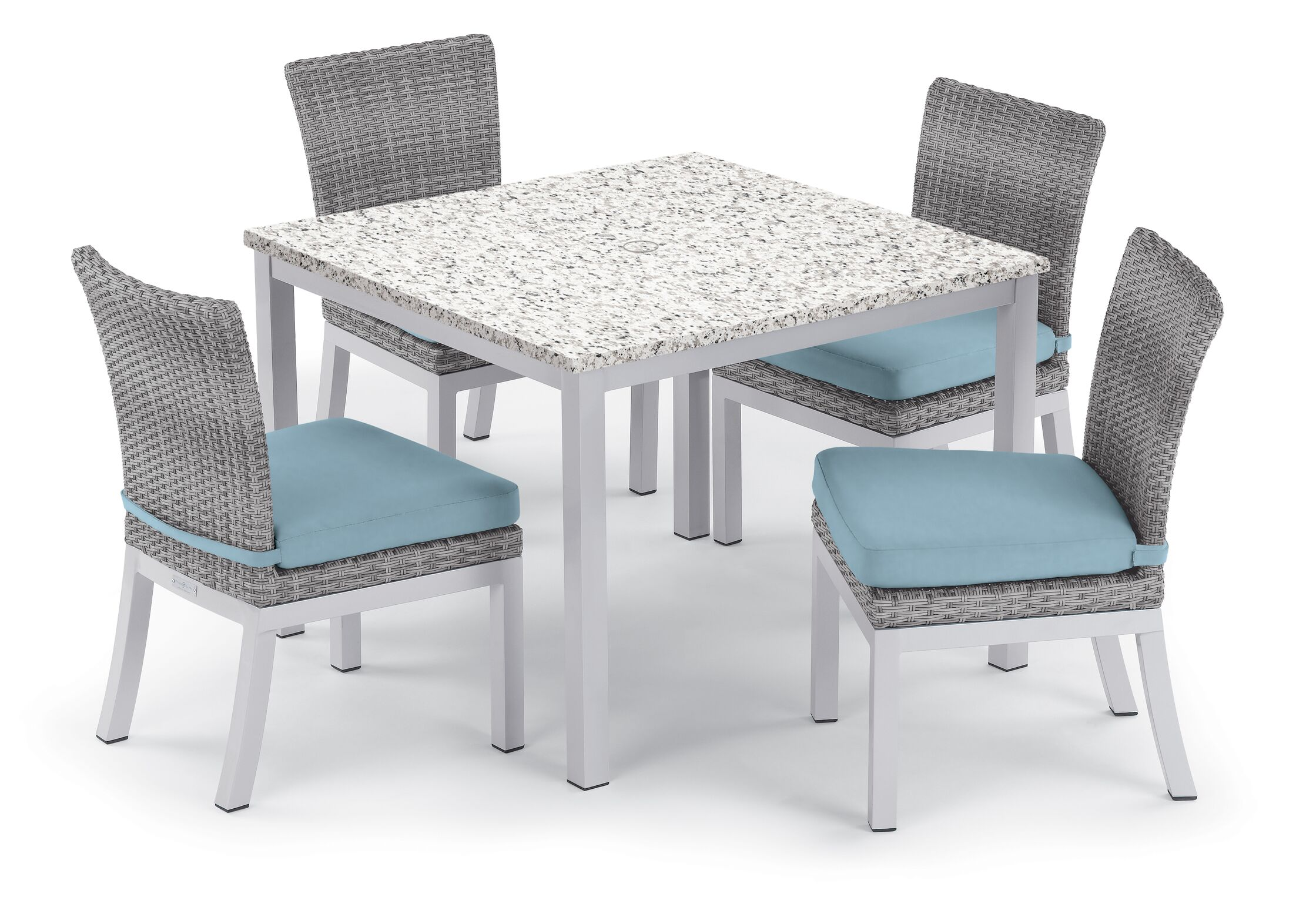Saleh 5 Piece Dining Set with Cushion Cushion Color: Ice Blue, Table Top Color: Ash