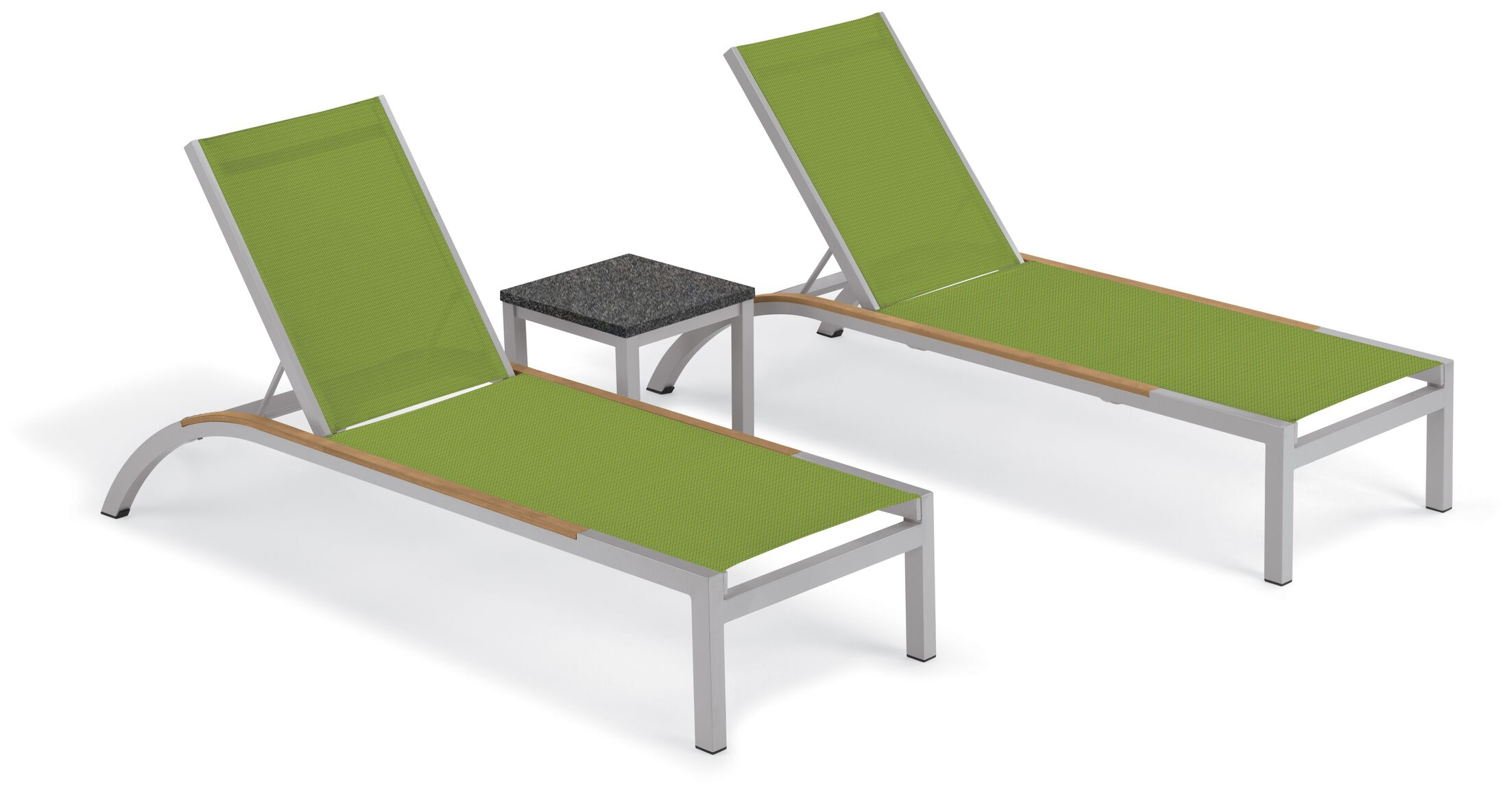 Saint-Pierre Chaise Lounge with Travira End Table Color: Go Green
