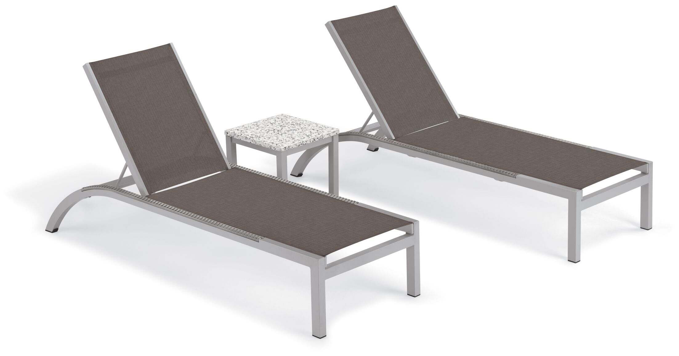 Saint-Pierre Reclining Chaise Lounge with End Table Color: Cocoa, Tabletop Color: Ash