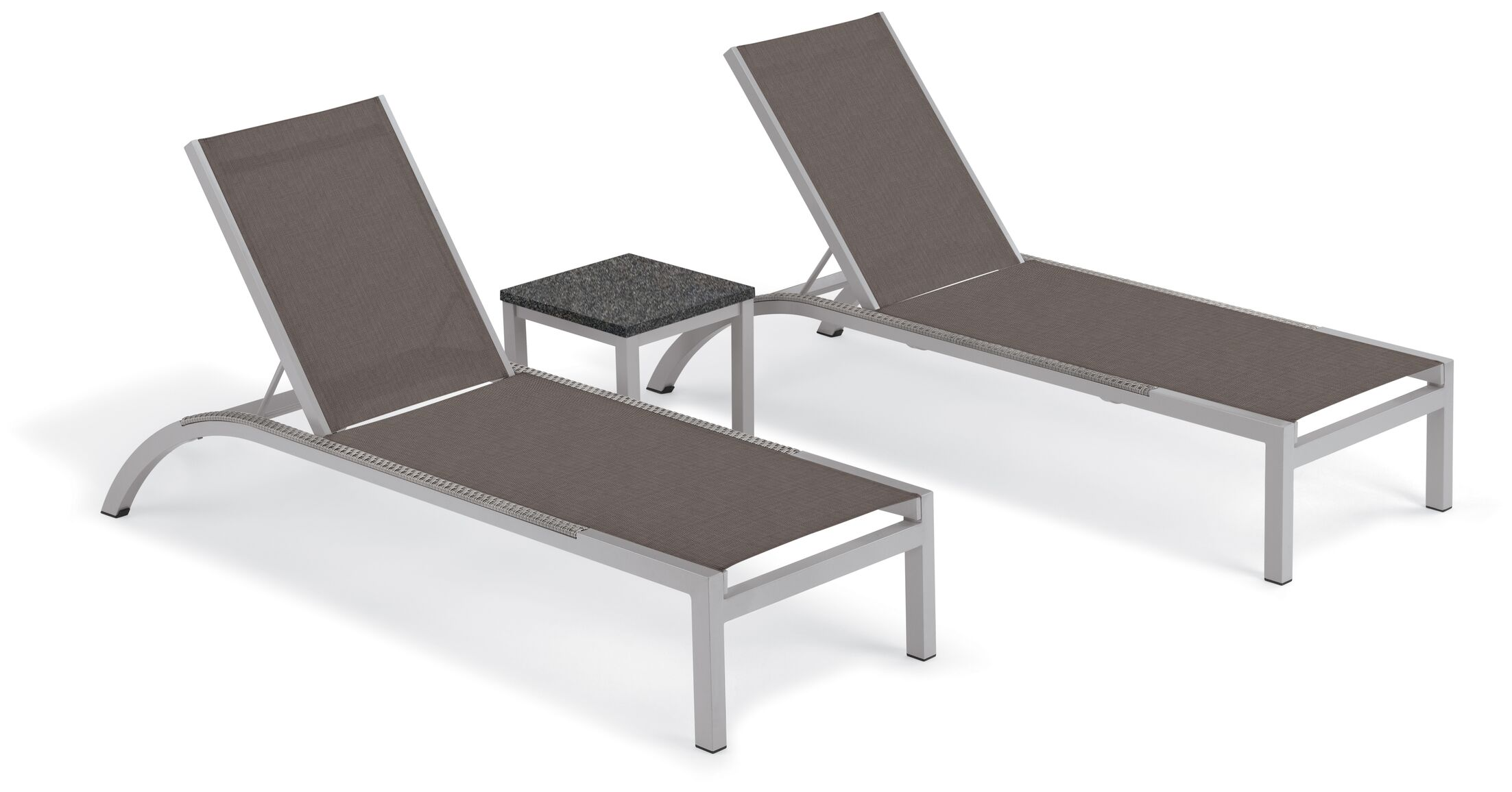 Saint-Pierre Reclining Chaise Lounge with End Table Color: Cocoa, Tabletop Color: Charcoal
