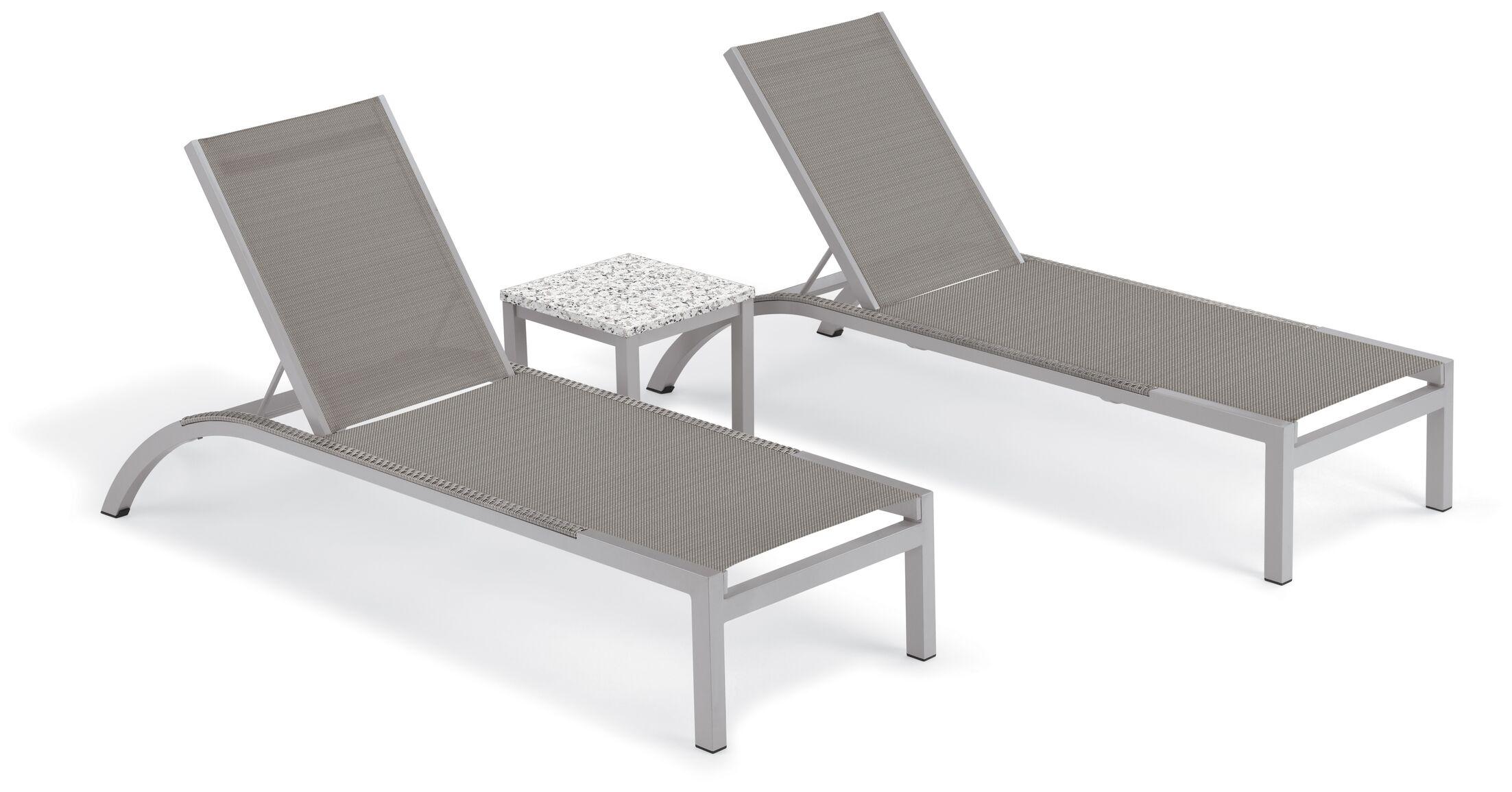 Saint-Pierre Reclining Chaise Lounge with End Table Color: Titanium, Tabletop Color: Ash