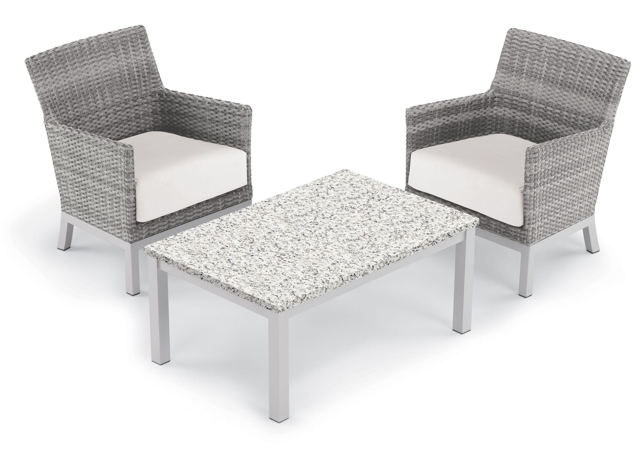 Saint-Pierre 3 Piece Club Rattan Conversation Set with Cushions Cushion Color: Eggshell White
