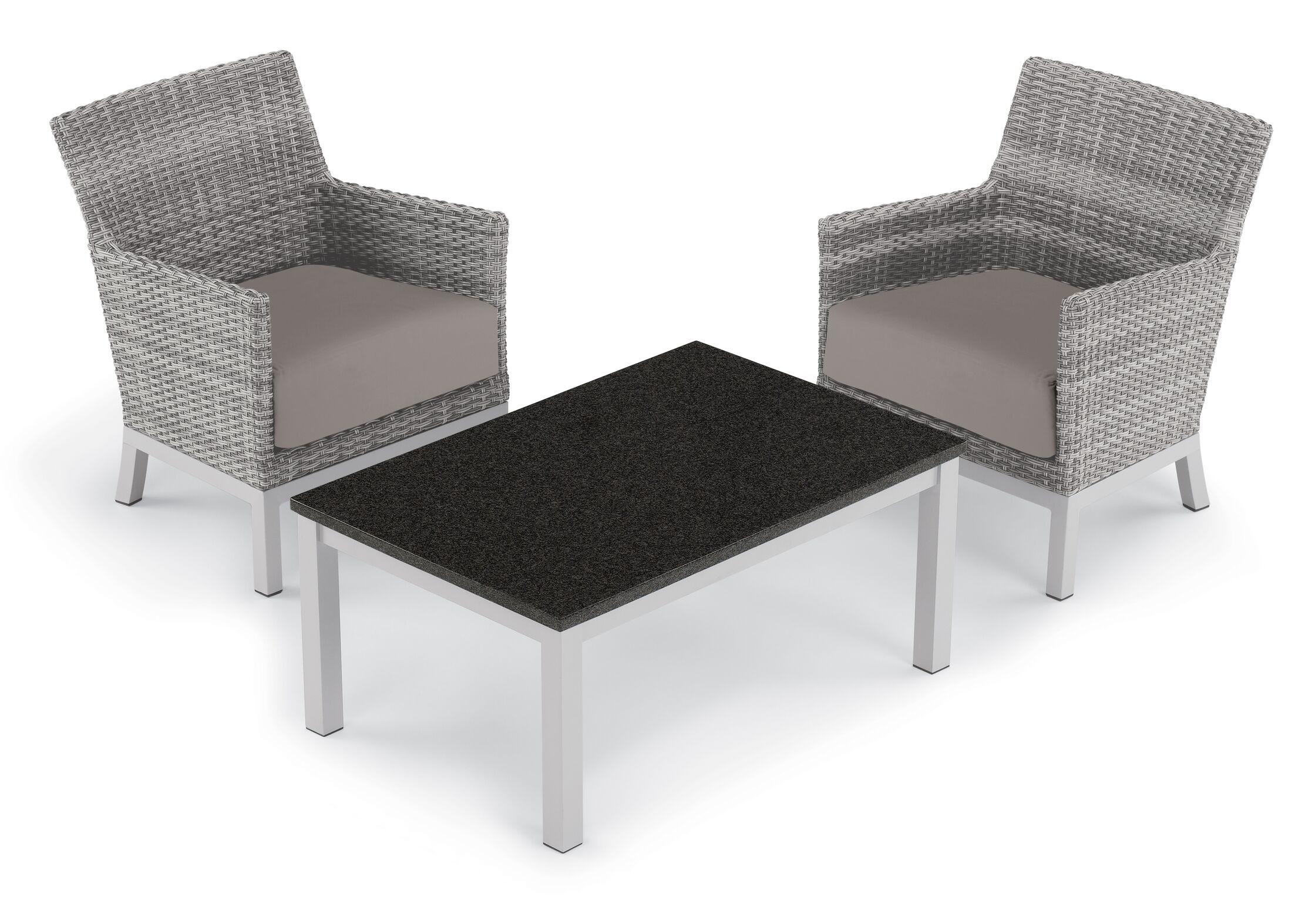 Saint-Pierre 3 Piece Club Rattan Conversation Set with Cushions Cushion Color: Stone