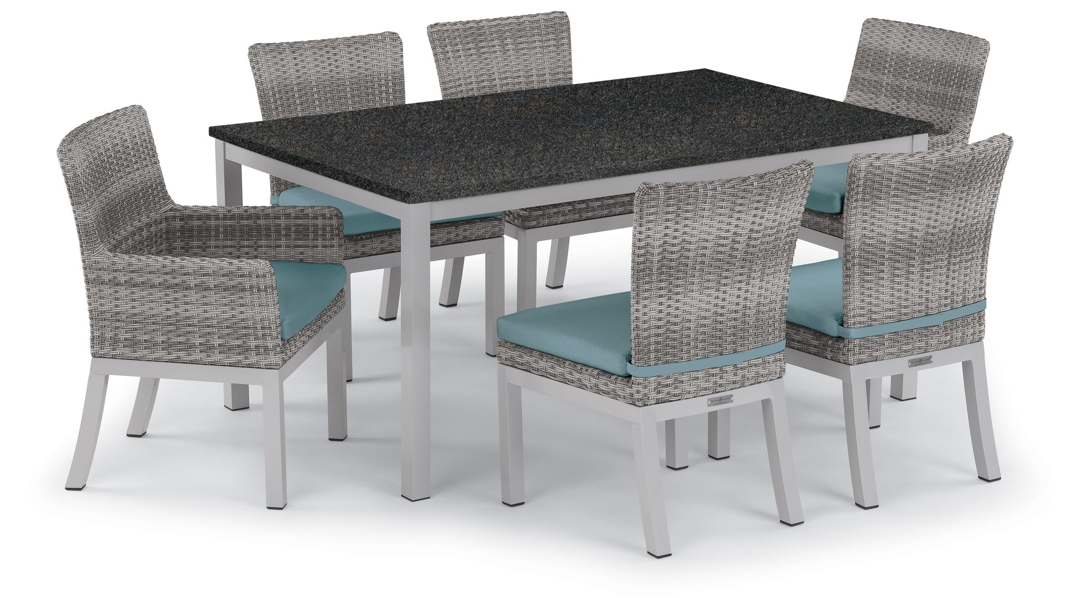 Saint-Pierre 7 Piece Dining Set with Cushions Cushion Color: Ice Blue, Table Top Color: Charcoal