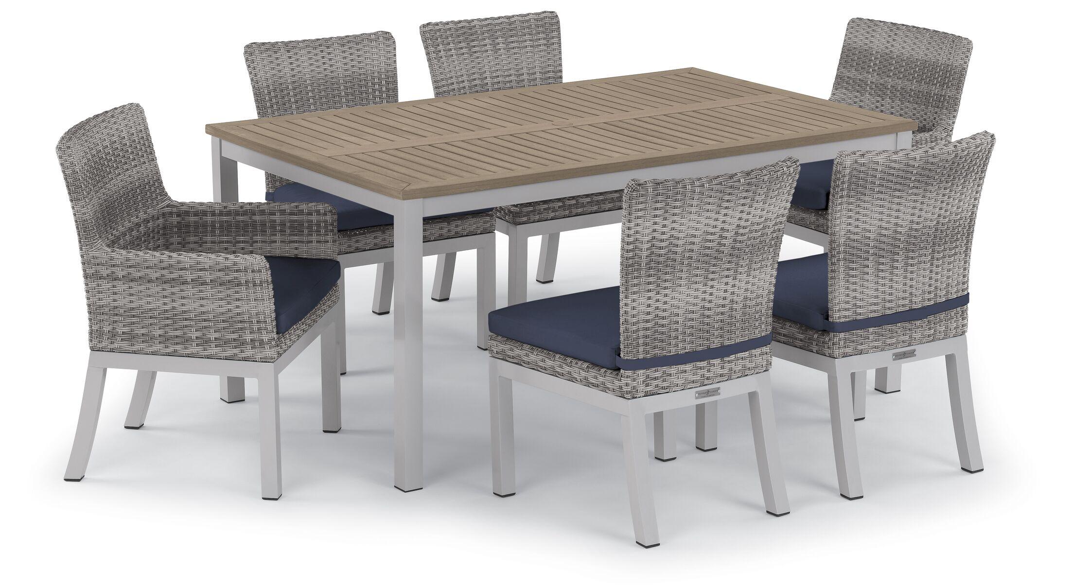 Saleh 7 Piece Sunbrella Dining Set with Cushions Cushion Color: Midnight Blue