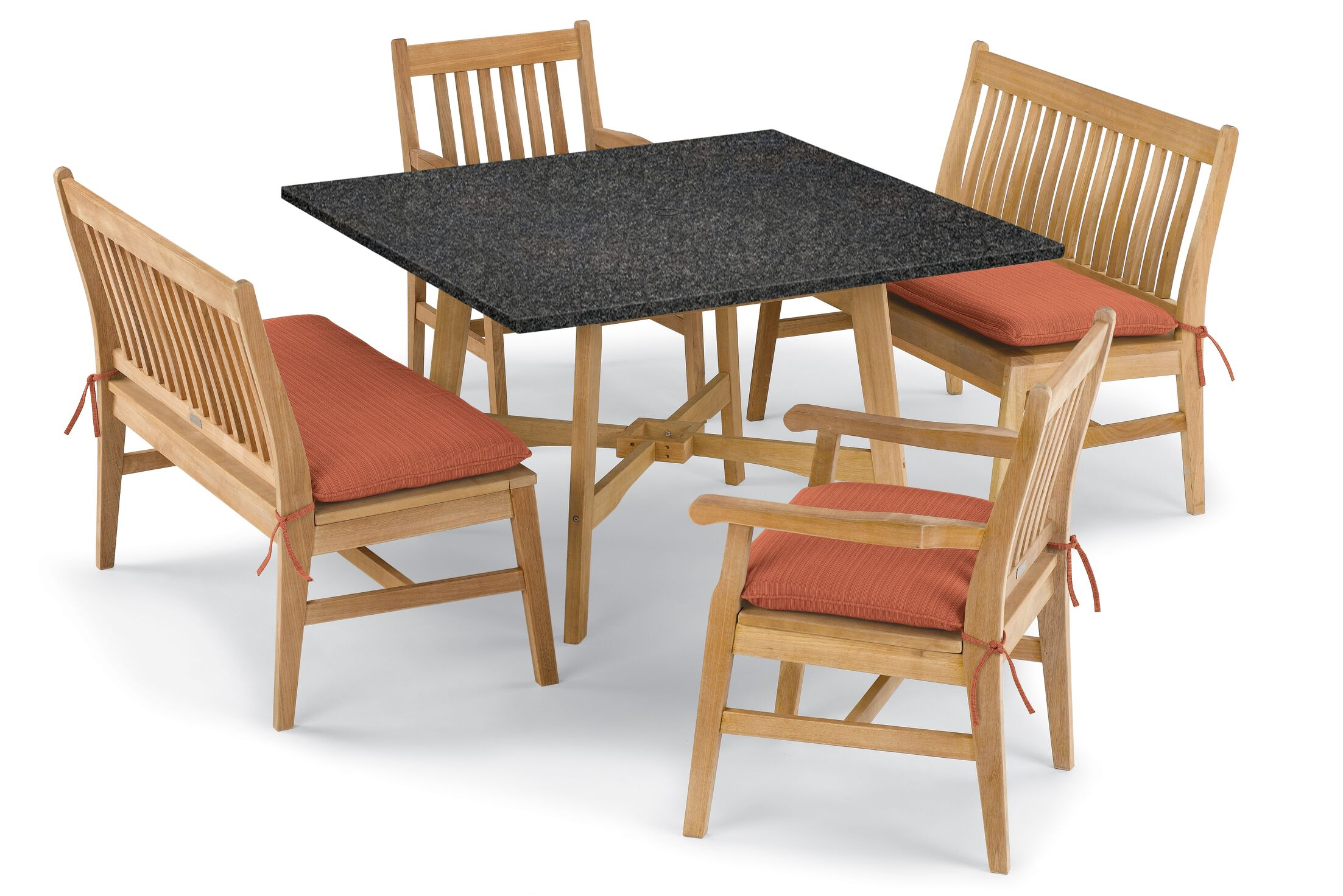 Laney 5 Piece Dining Set with Cushions Cushion Color: Dupione Papaya , Table Top Color: Charcoal, Color: Natural
