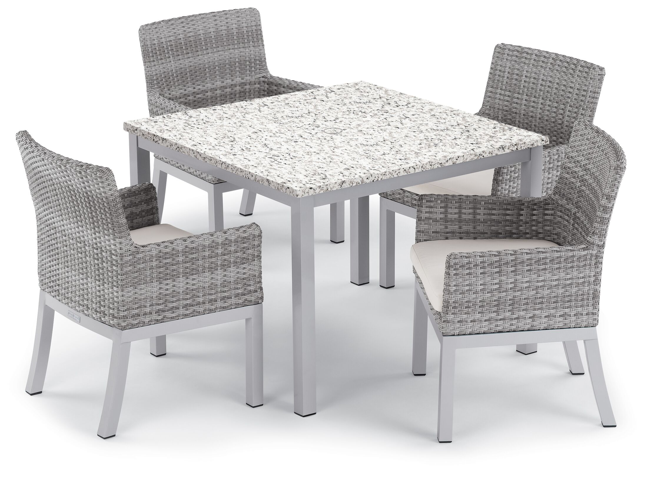 Saleh 5 Piece Dining Set with Cushion Cushion Color: Stone, Table Top Color: Charcoal