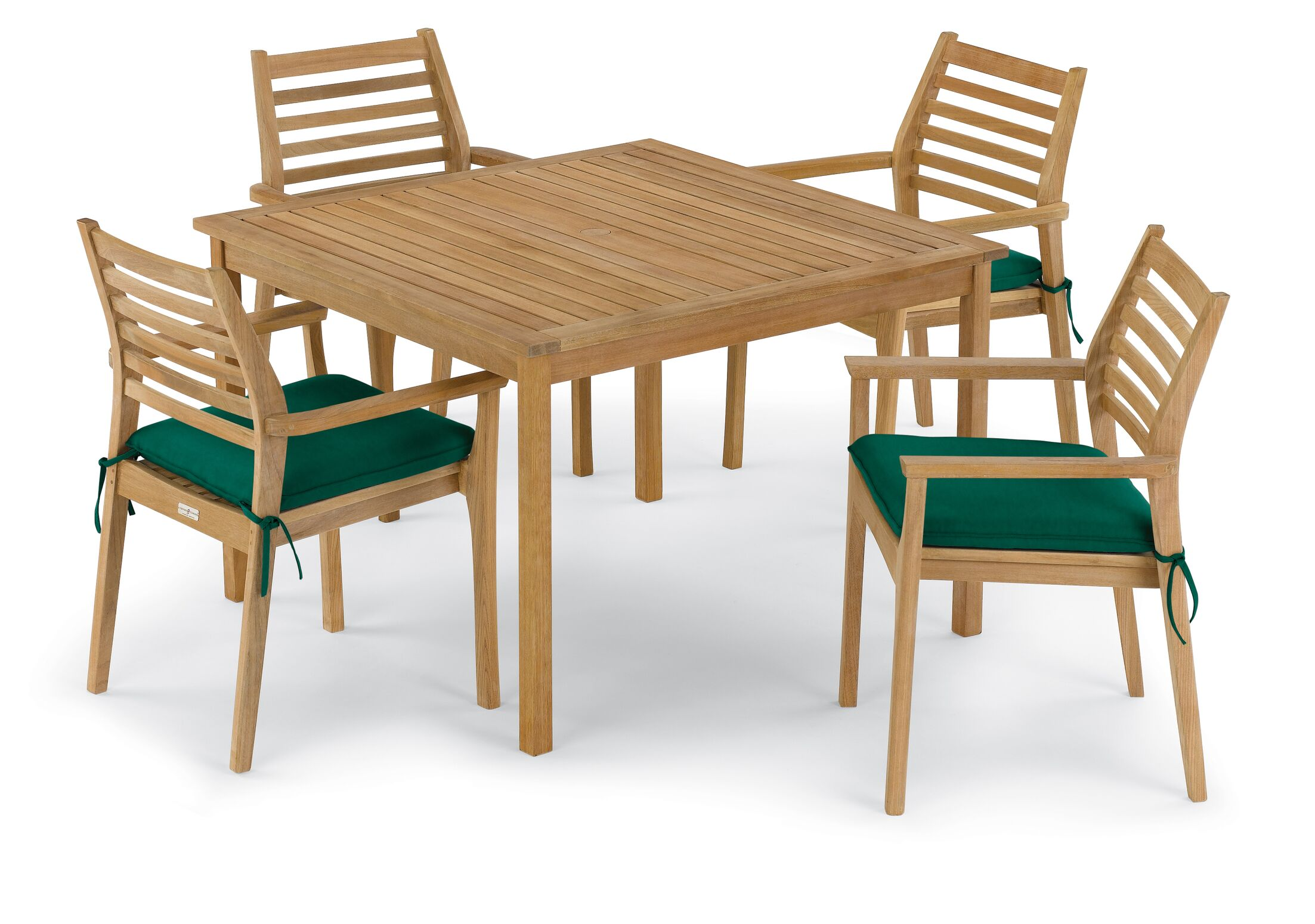 Crosslin 5 Piece Dining Set with Cushions Cushion Color: Hunter Green