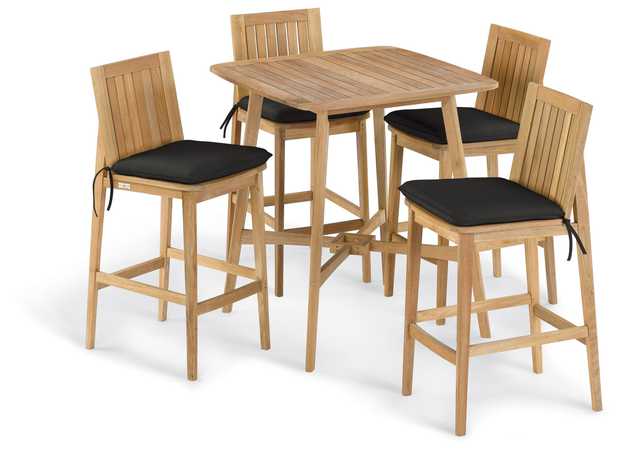 Kentmere 5 Piece Dining Set with Cushions Cushion Color: Canvas Black