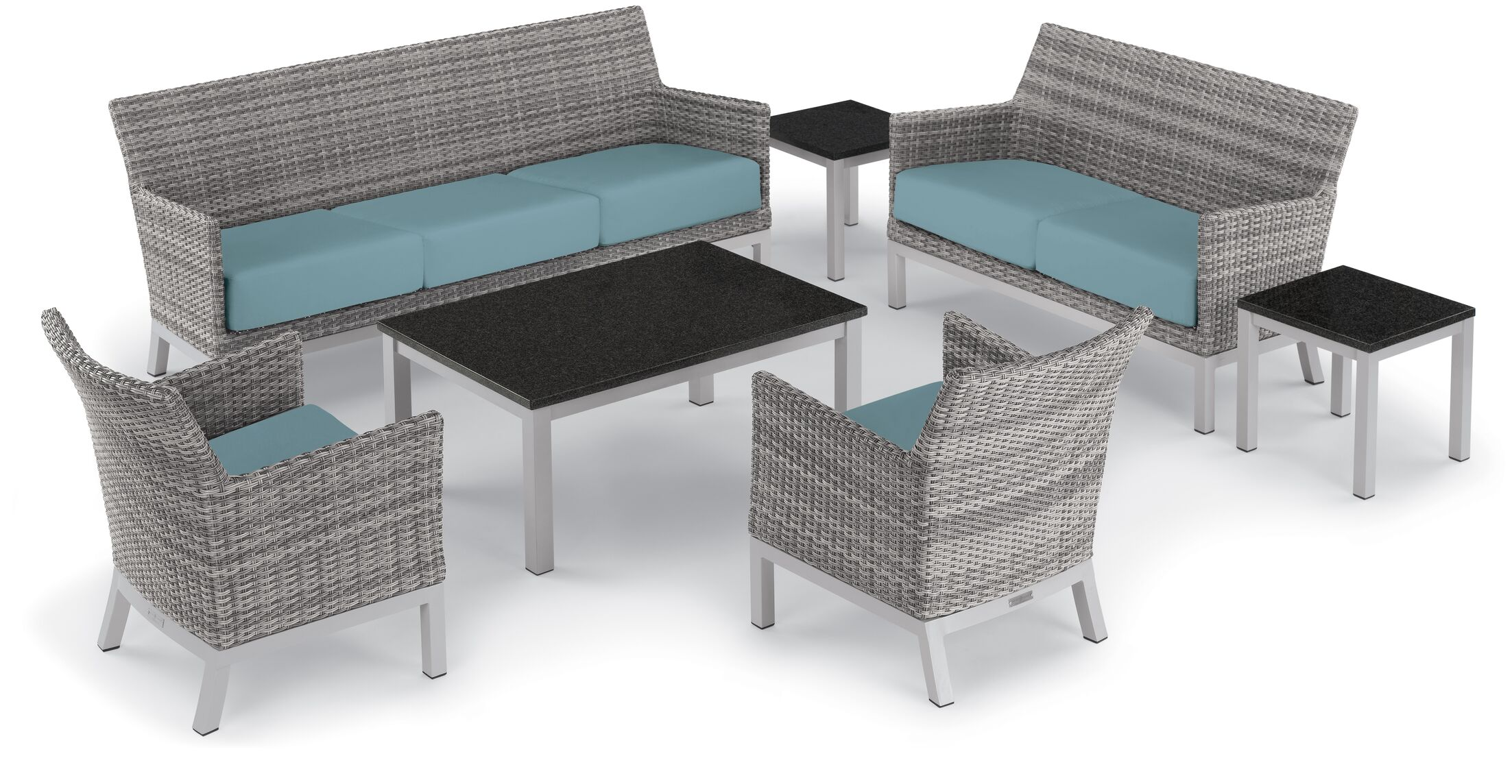 Saint-Pierre 6 Piece Sofa Set with Cushions Cushion Color: Ice Blue , Table Top Color: Charcoal