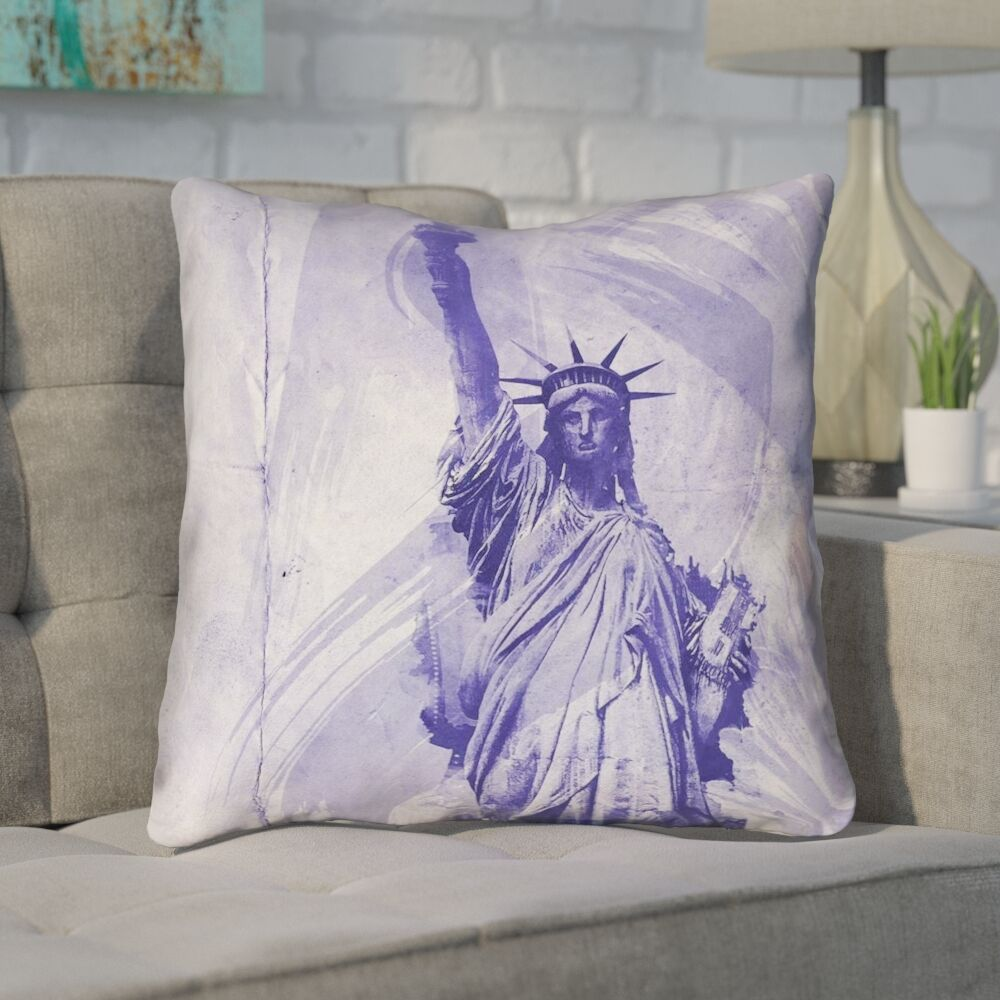 Houck Blue Watercolor Statue of Liberty Zipper Throw Pillow Size: 20