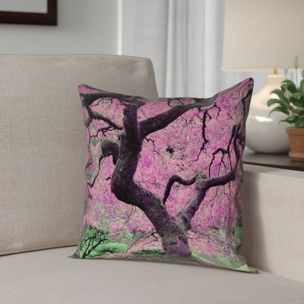 Ghost Train Japanese Maple Tree Square Pillow Cover Size: 14
