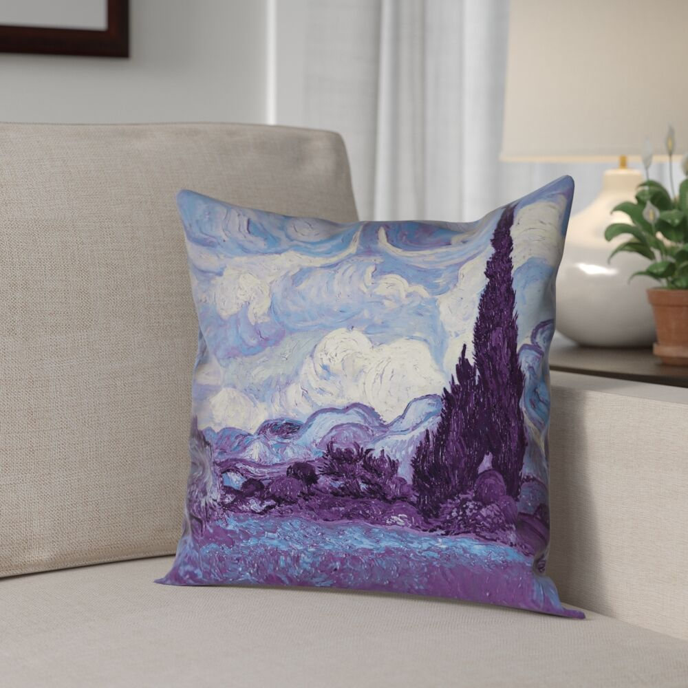 Morley Wheat Field with Cypresses 100% Cotton Pillow Cover Size: 26