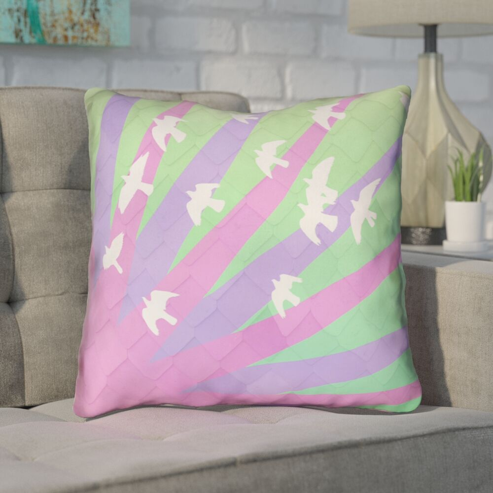 Enciso Birds and Sun Square Throw Pillow Size: 16