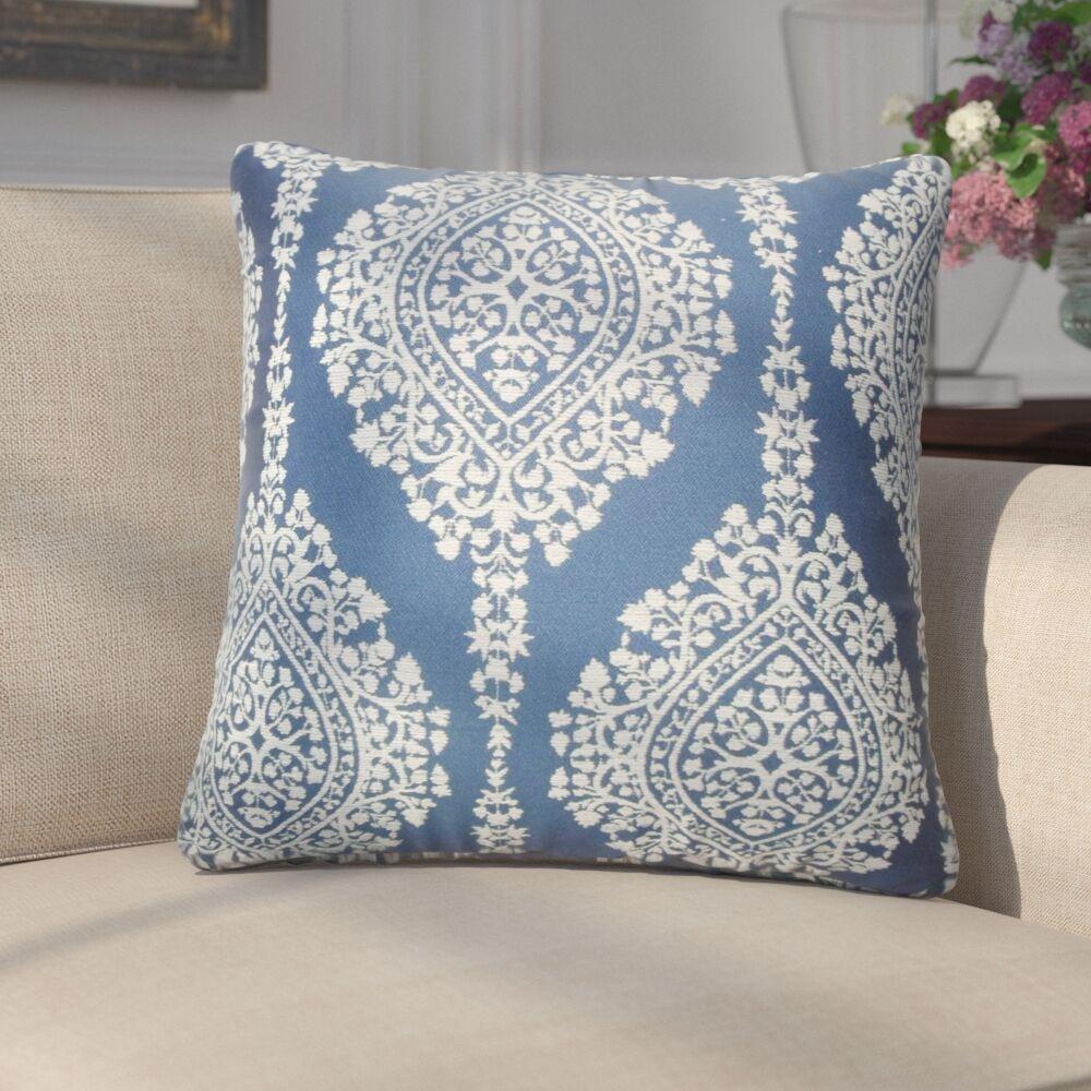 Ignazio Damask Cotton Throw Pillow Color: Lapis