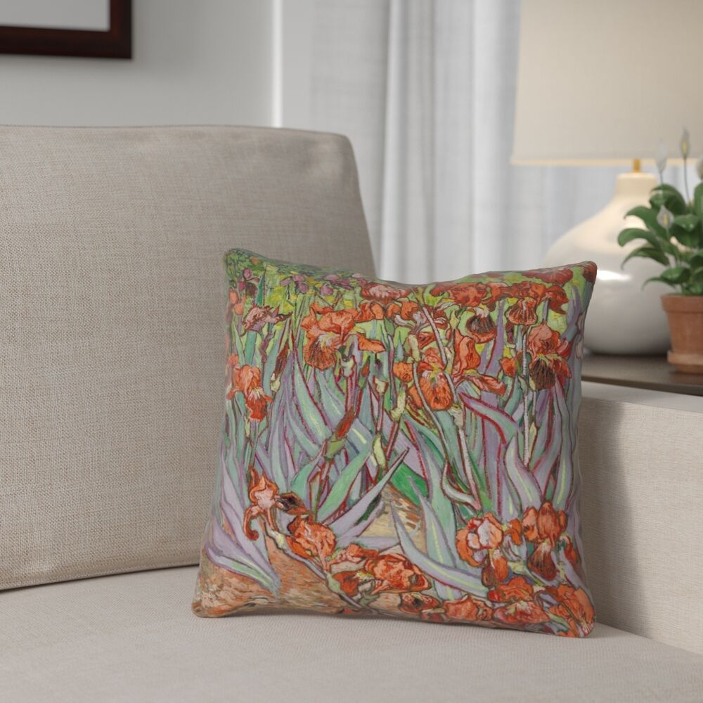Morley Irises Throw Pillow Size: 20