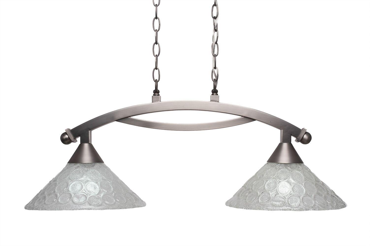 Eisenhauer 2-Light Glass Shade Kitchen Island Pendant Finish: Brushed Nickel