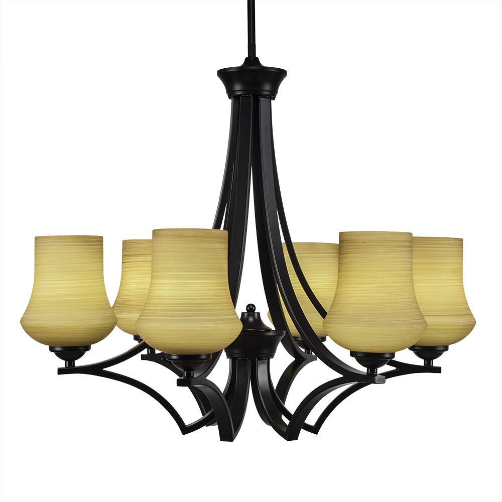 Couto 6-Light Shaded Chandelier Shade Color: Cayenne, Finish: Matte Black
