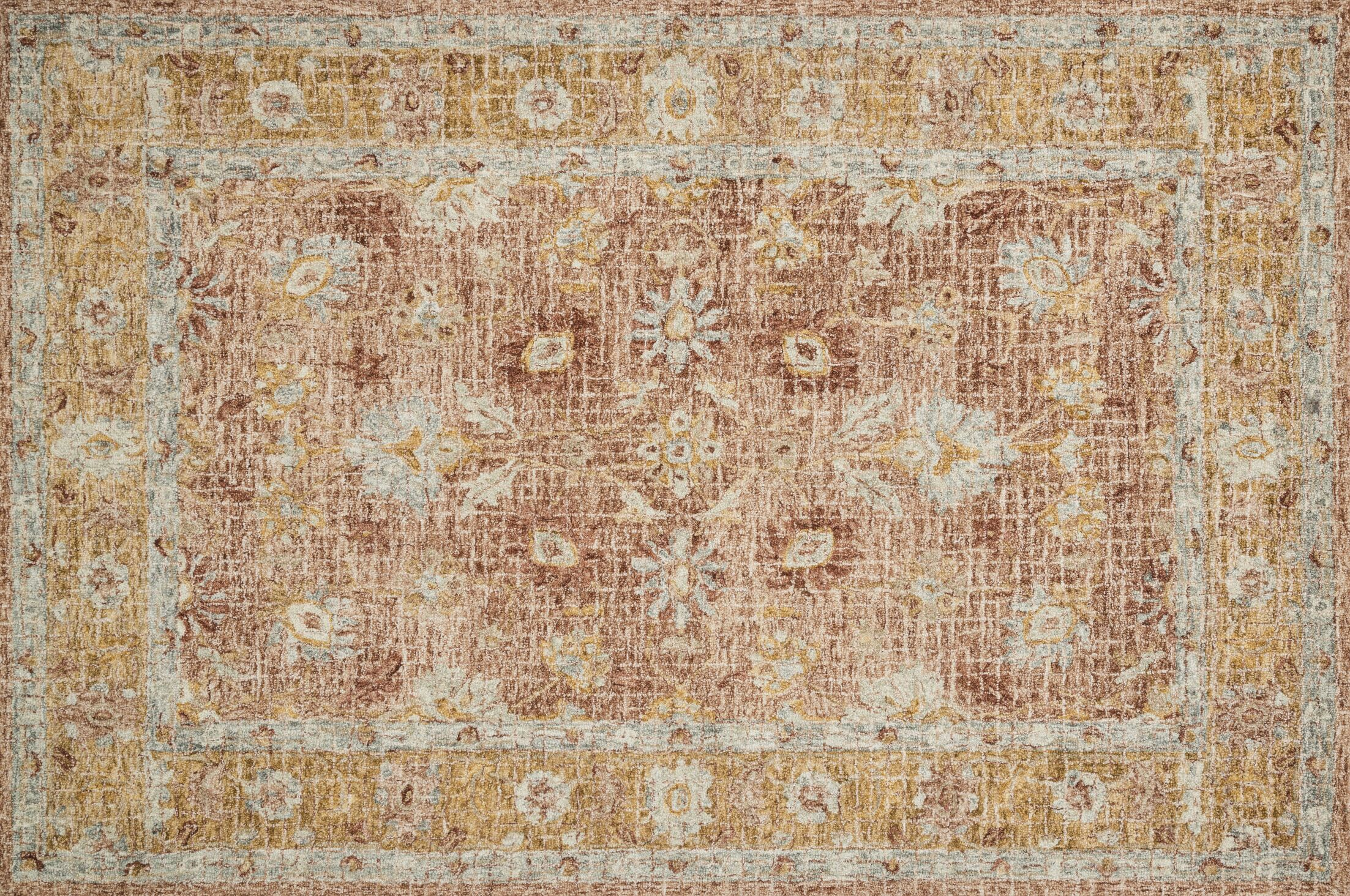 Fitzwater Hand-Hooked Wool Terracotta/Gold Area Rug Rug Size: Rectangle 2'6