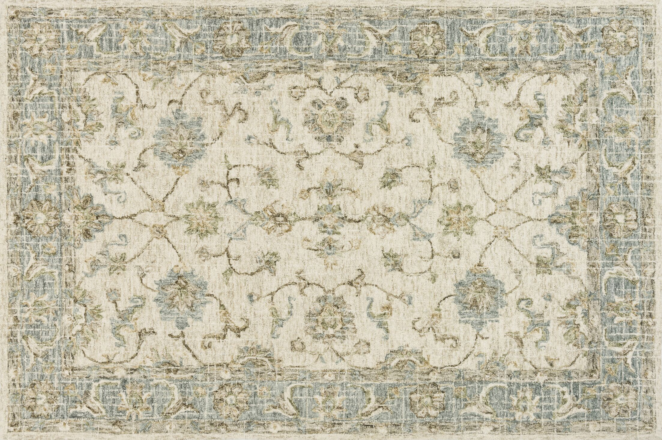 Fitzwater Hand-Hooked Wool Ivory/Spa Area Rug Rug Size: Rectangle 2'6