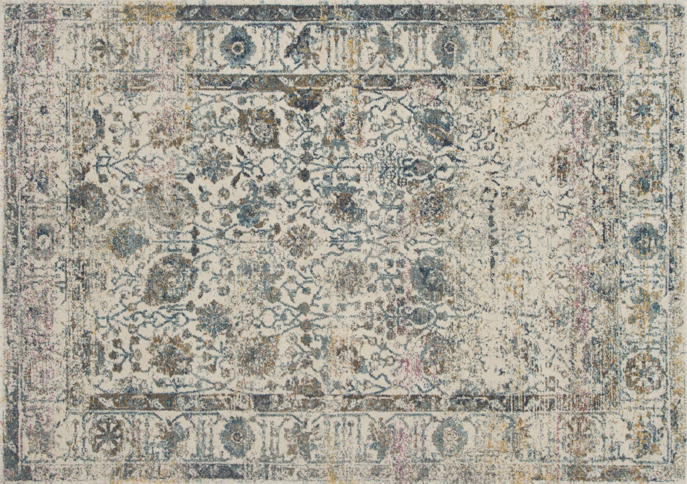 Palmore Ivory/Blue Area Rug Rug Size: Rectangle 3'11