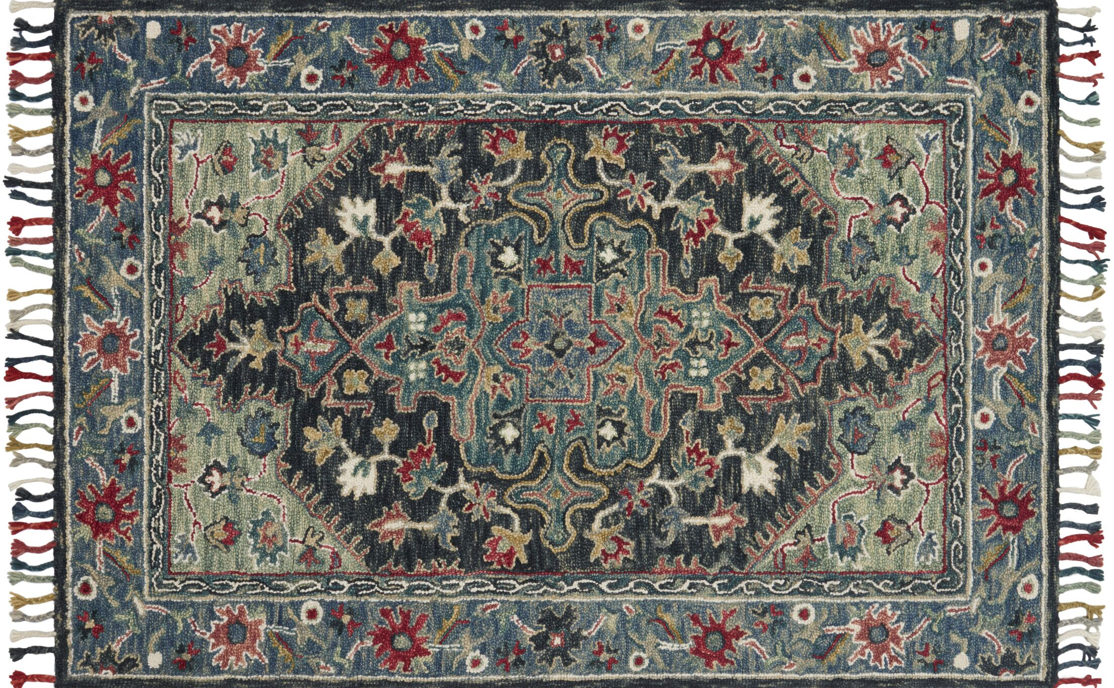 Oneil Hand-Hooked Wool Navy/Blue Area Rug Rug Size: Rectangle 7'9