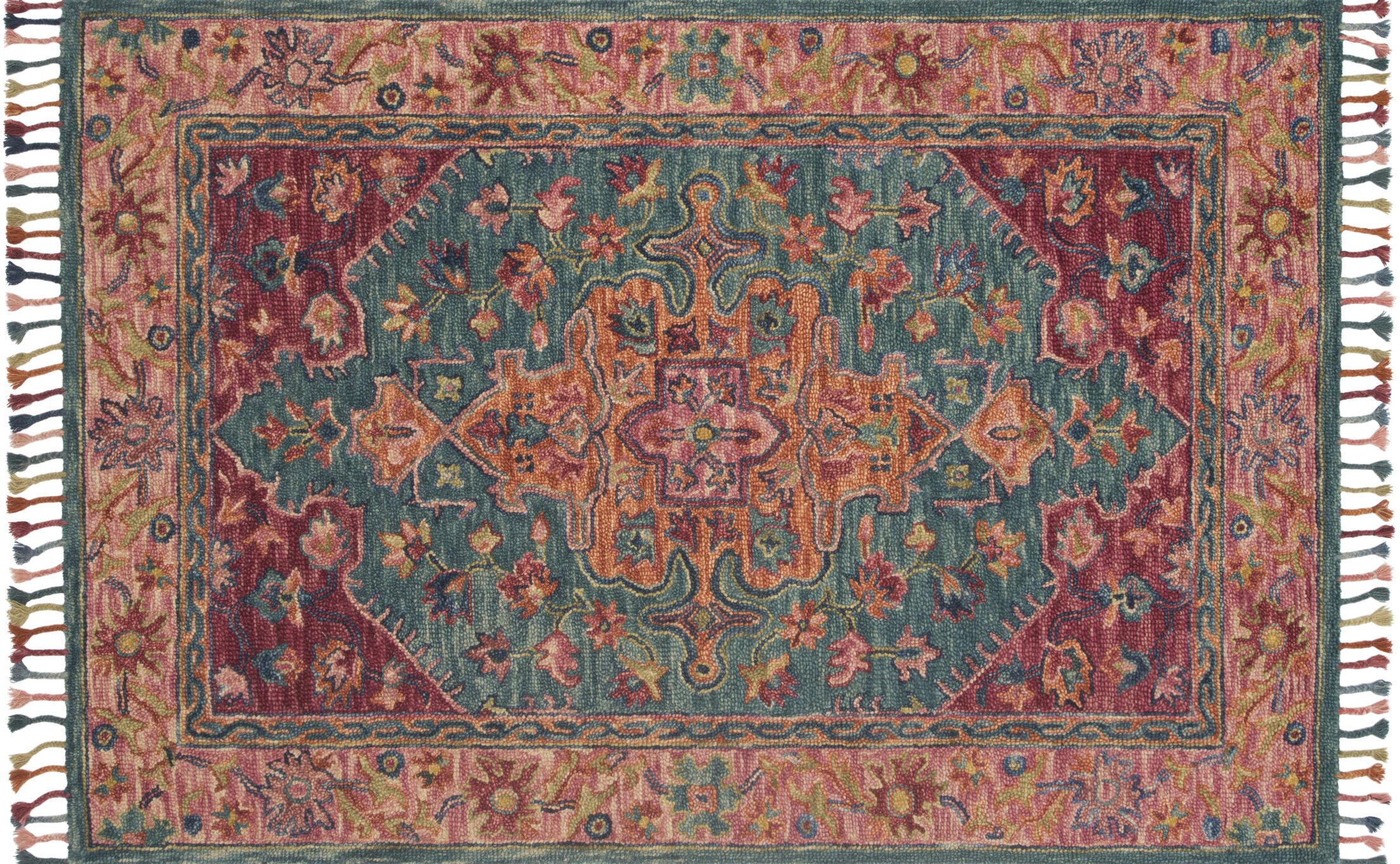 Oneil Hand-Hooked Wool Teal/Berry Area Rug Rug Size: Rectangle 2'6