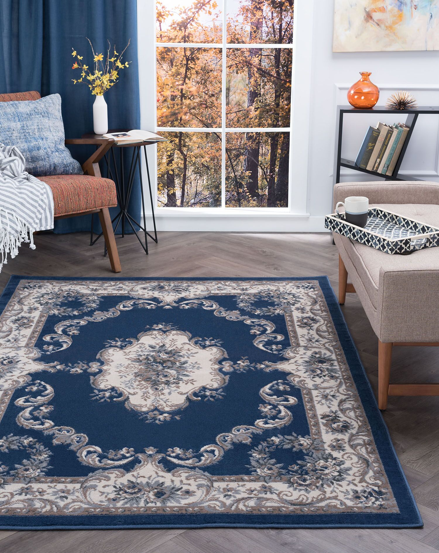 Riter Navy Area Rug Rug Size: 7'11'' x 9'10''
