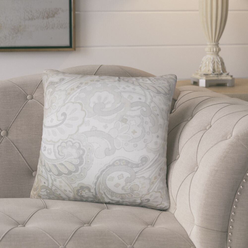 Dolbeau Floral Cotton Throw Pillow Color: Gray