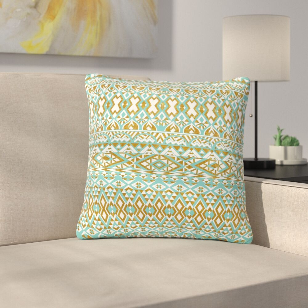 Pom Graphic Design and Tribals Brown Outdoor Throw Pillow Size: 16