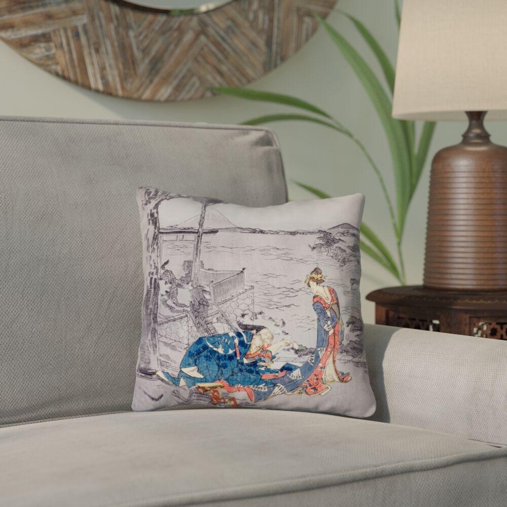 Enya Japanese Courtesan Down Alternative Throw Pillow Color: Blue, Size: 20