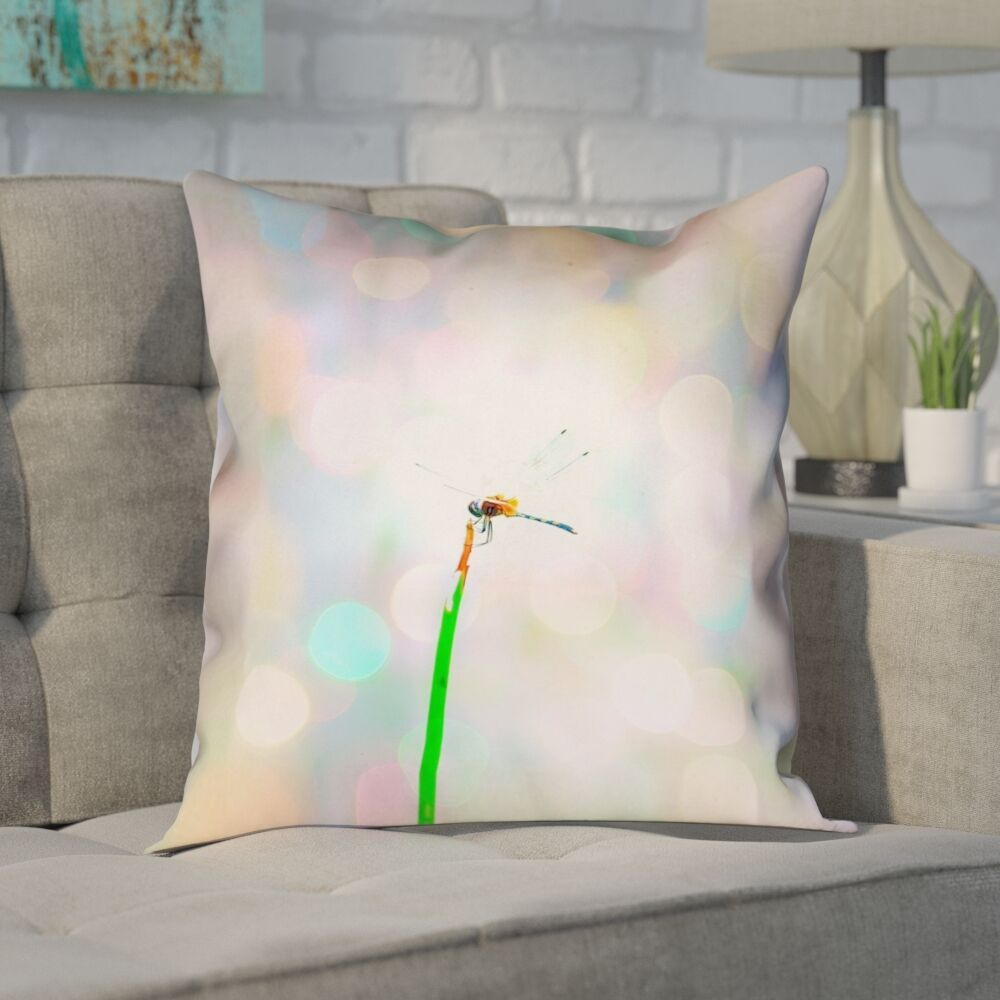 Gemmill Dragonfly and Lights Outdoor Throw Pillow Size: 16