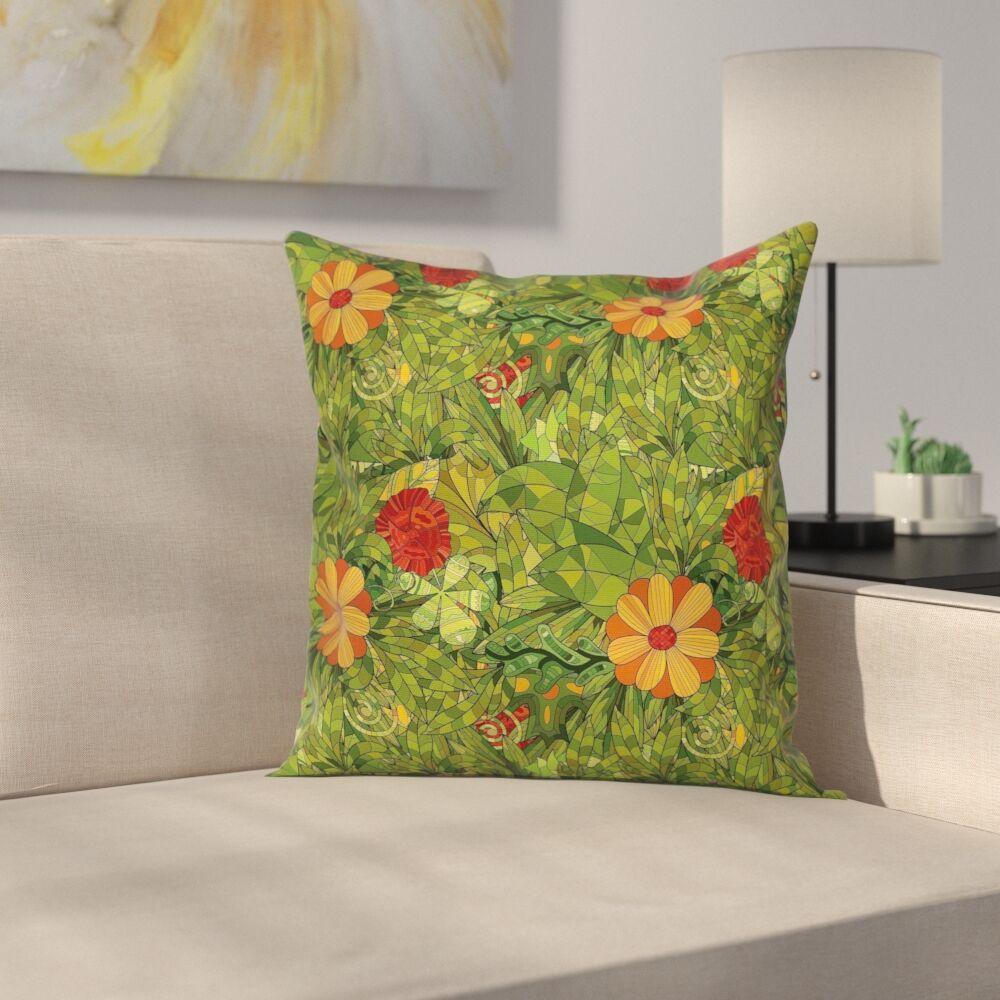 Floral Fractal Retro Jungle Art Cushion Pillow Cover Size: 18