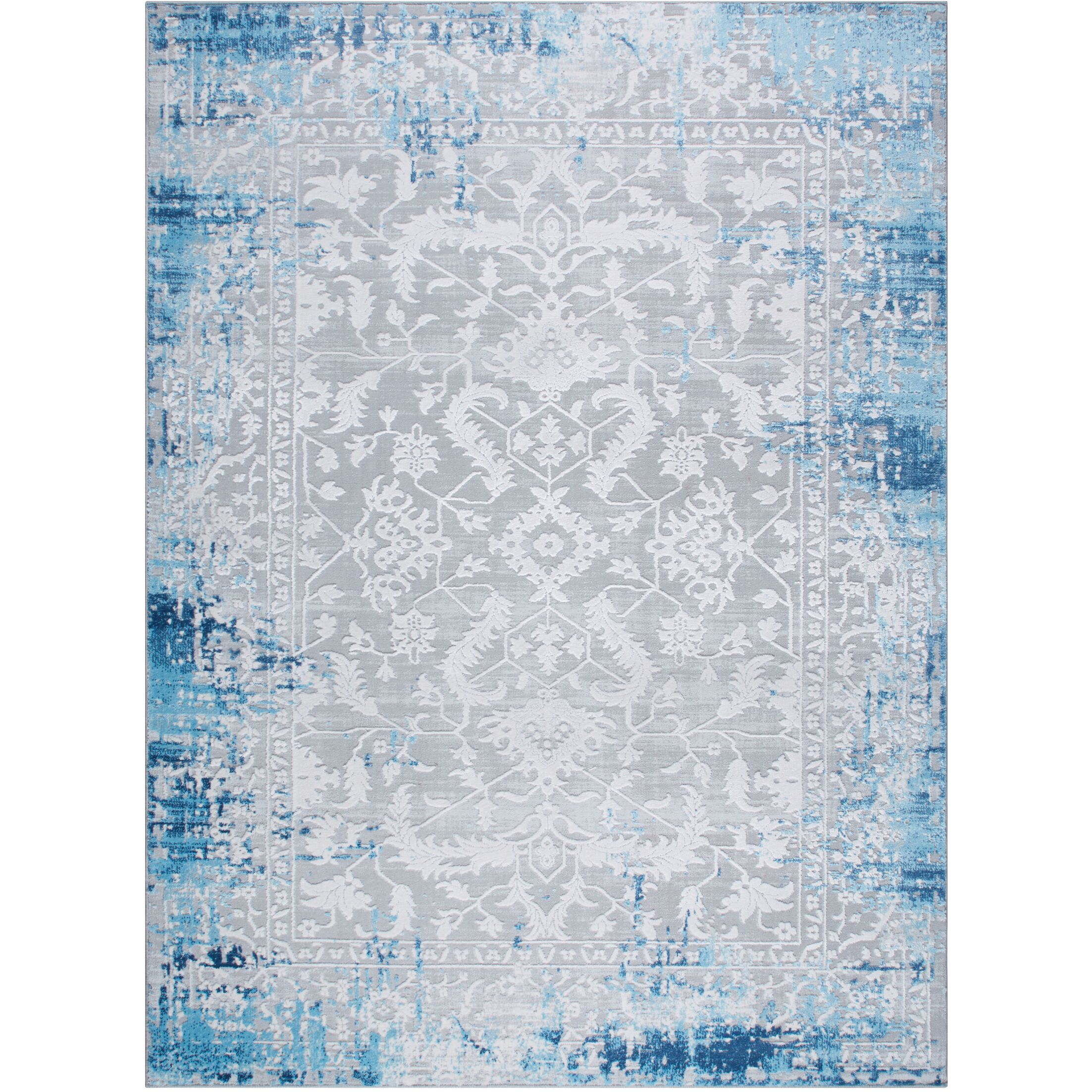 Glidden Antiqued Border Blue Area Rug Rug Size: Rectangle 5'2