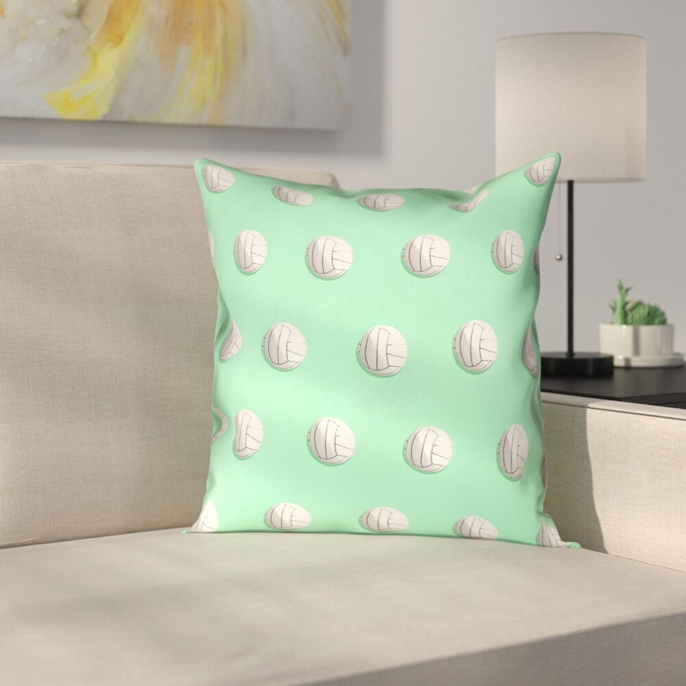 Volleyball Linen Pillow Cover Size: 16