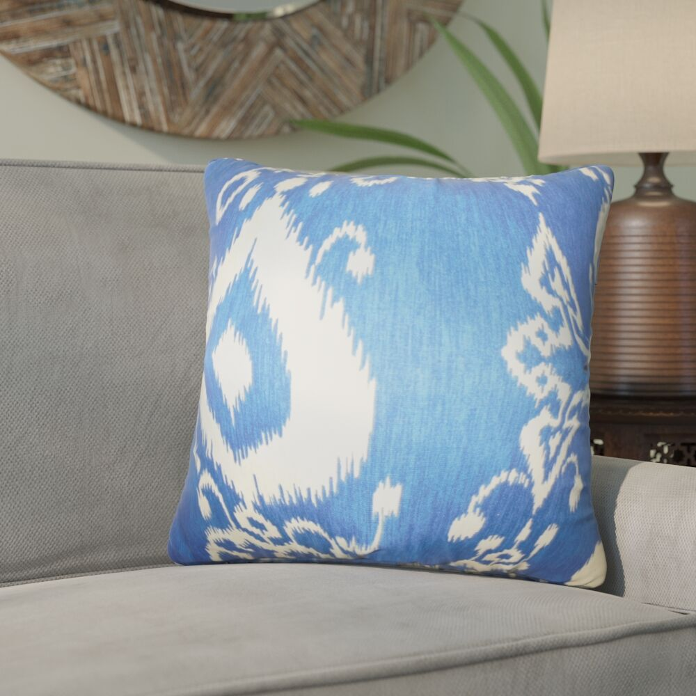 Gaiser Ikat Cotton Throw Pillow Color: Chambray