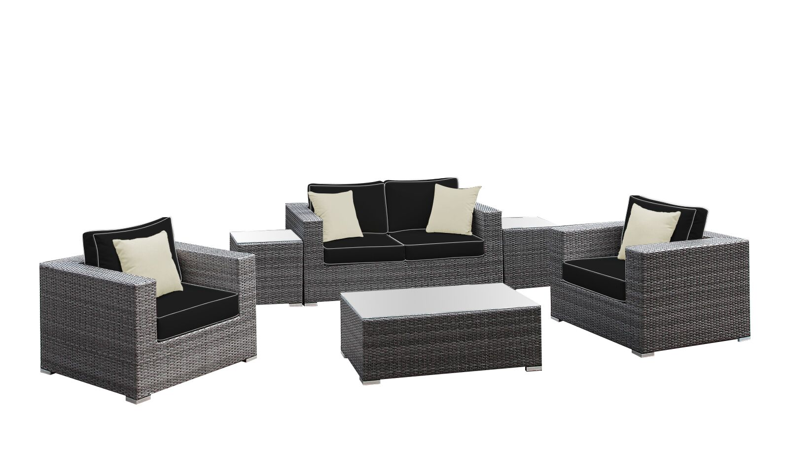 Yeager 6 Piece Rattan Sofa Set with Cushion Cushion Color: Gray/Black