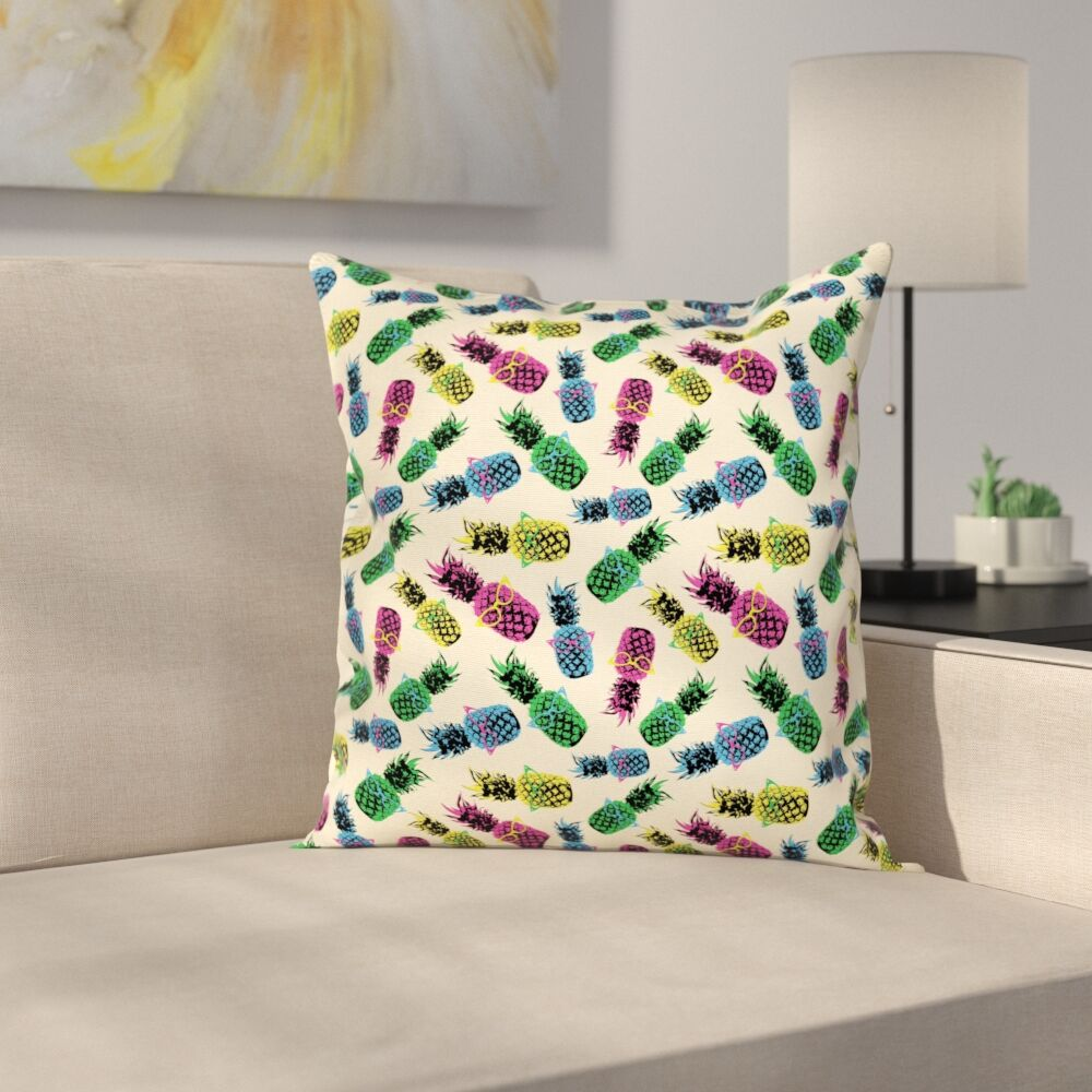 80s Vibrant Pineapple Square Cushion Pillow Cover Size: 16