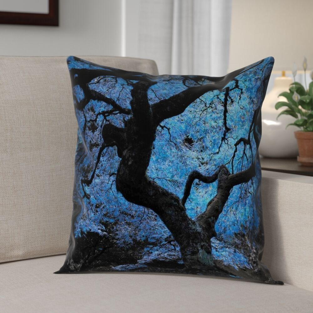Ghost Train Japanese Maple Tree Square Pillow Cover Size: 20